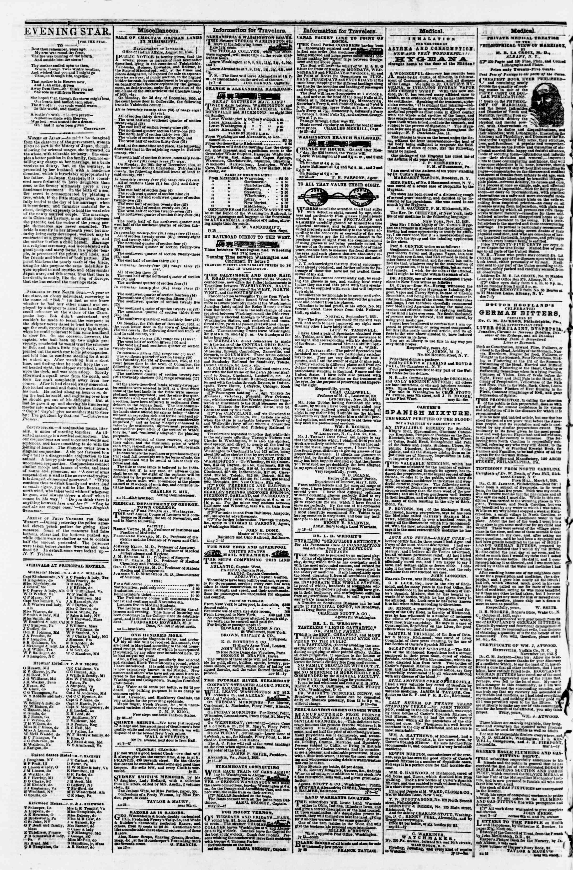 30 Ağustos 1855 tarihli Evening Star Gazetesi Sayfa 4
