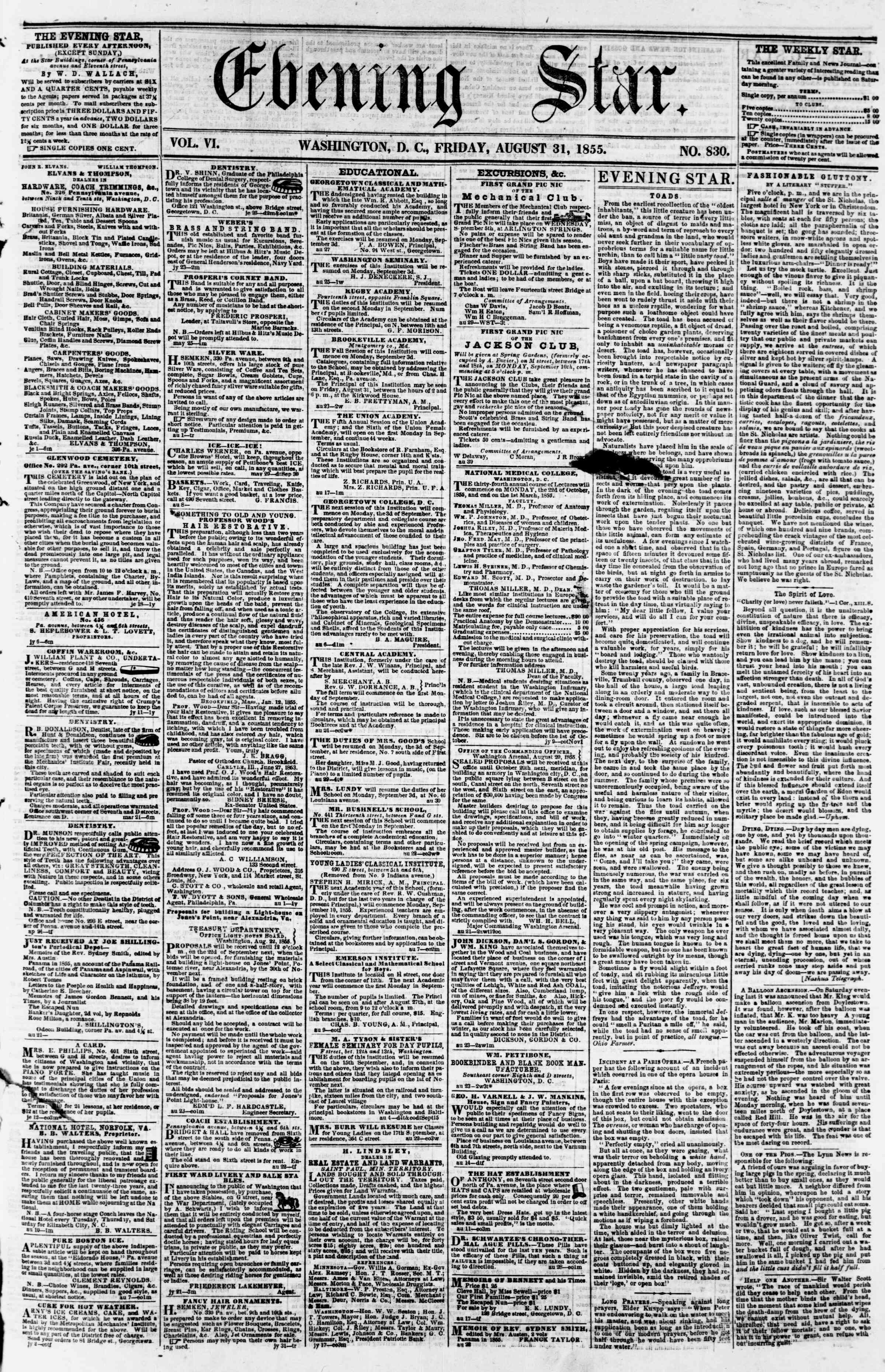 Newspaper of Evening Star dated August 31, 1855 Page 1