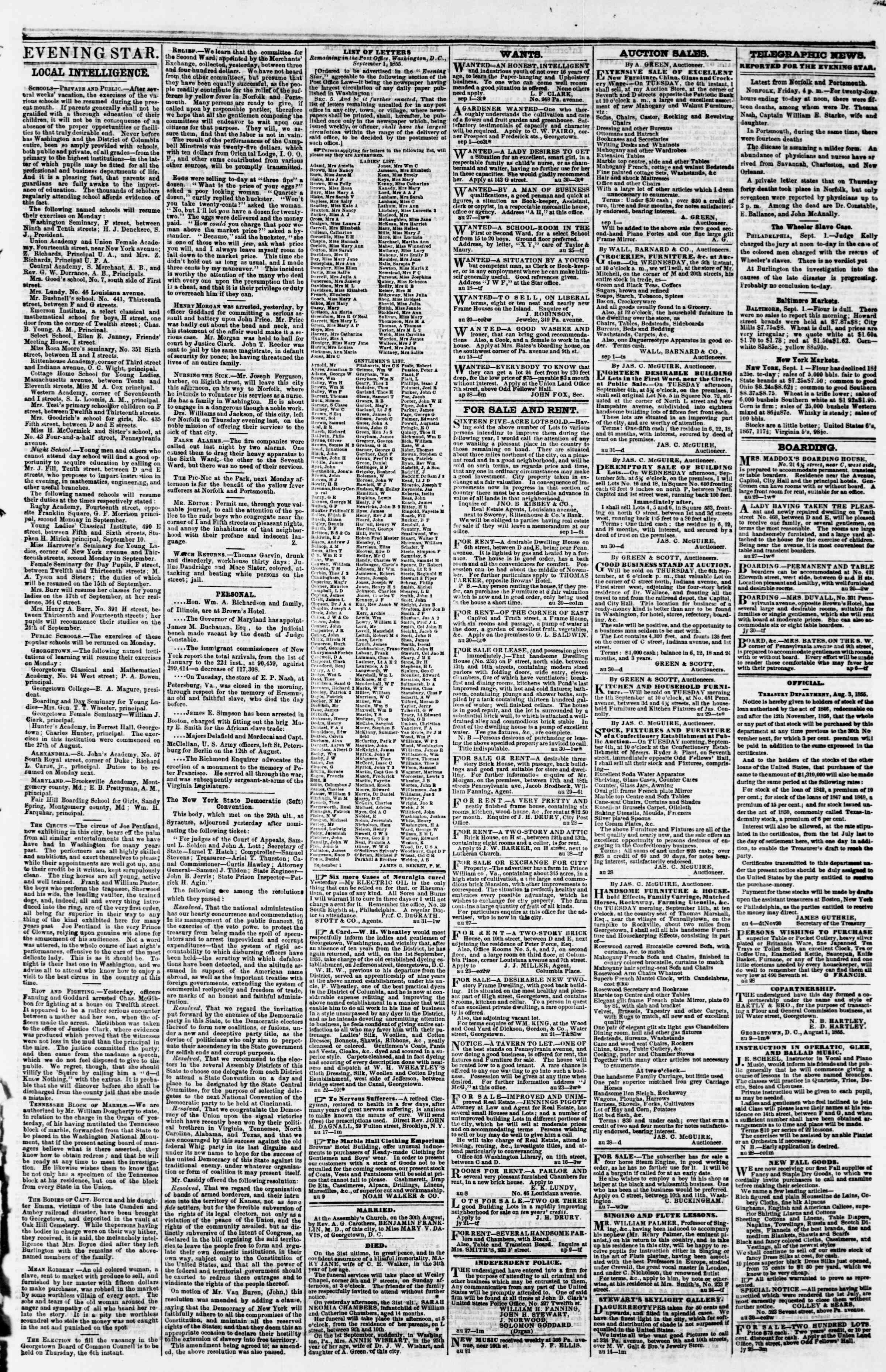 Newspaper of Evening Star dated September 1, 1855 Page 3