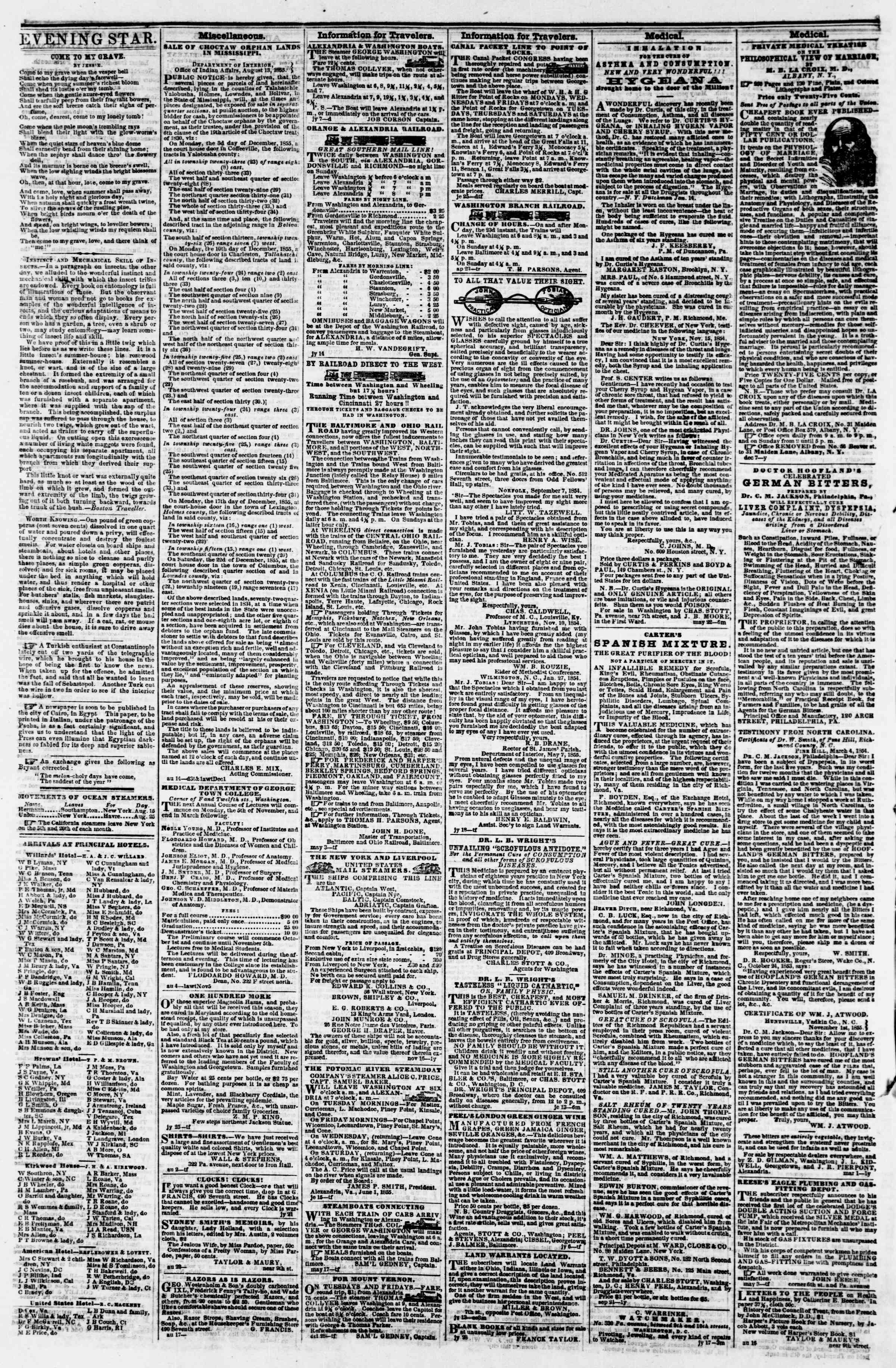 Newspaper of Evening Star dated September 1, 1855 Page 4