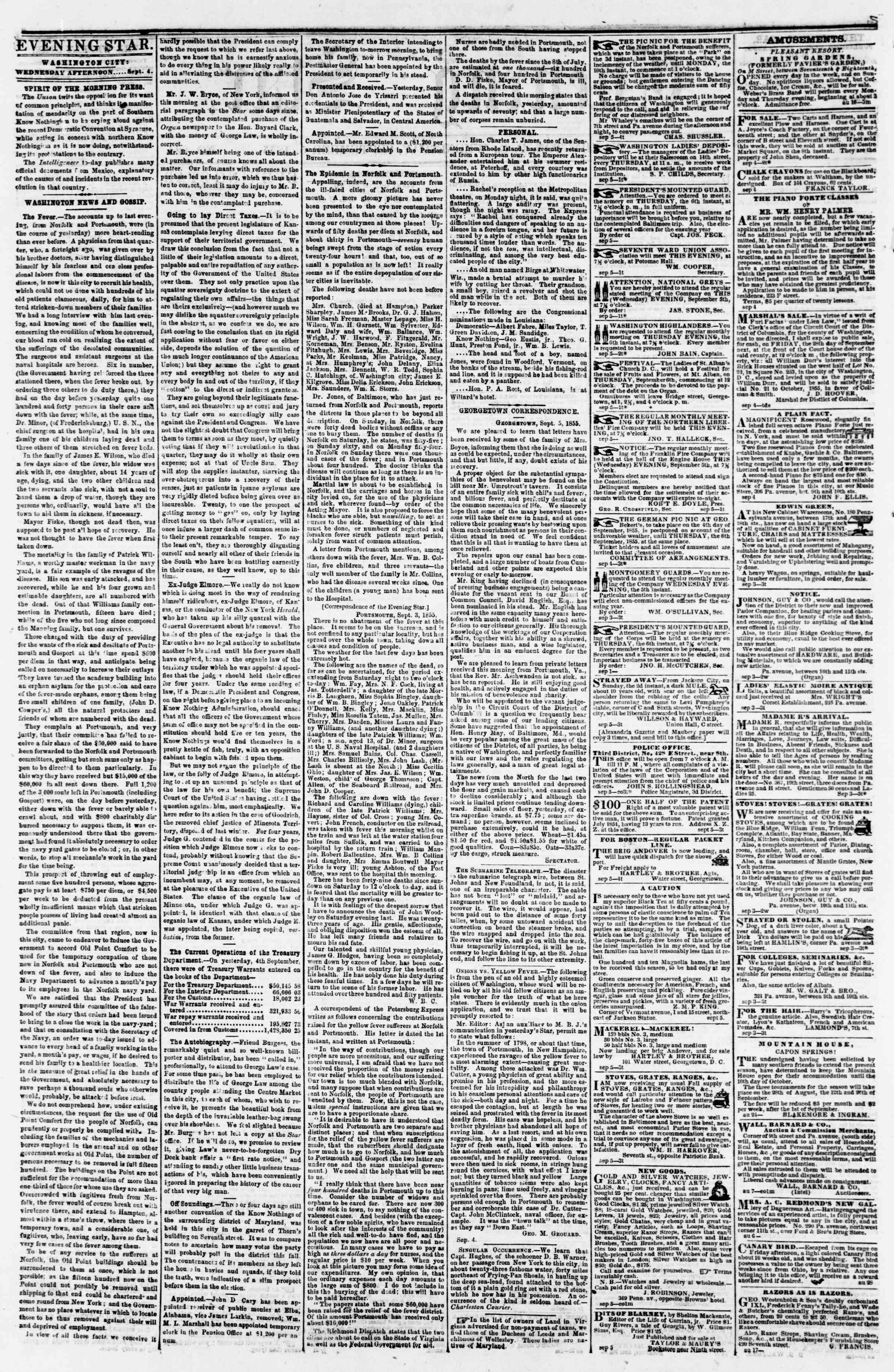 Newspaper of Evening Star dated September 5, 1855 Page 2