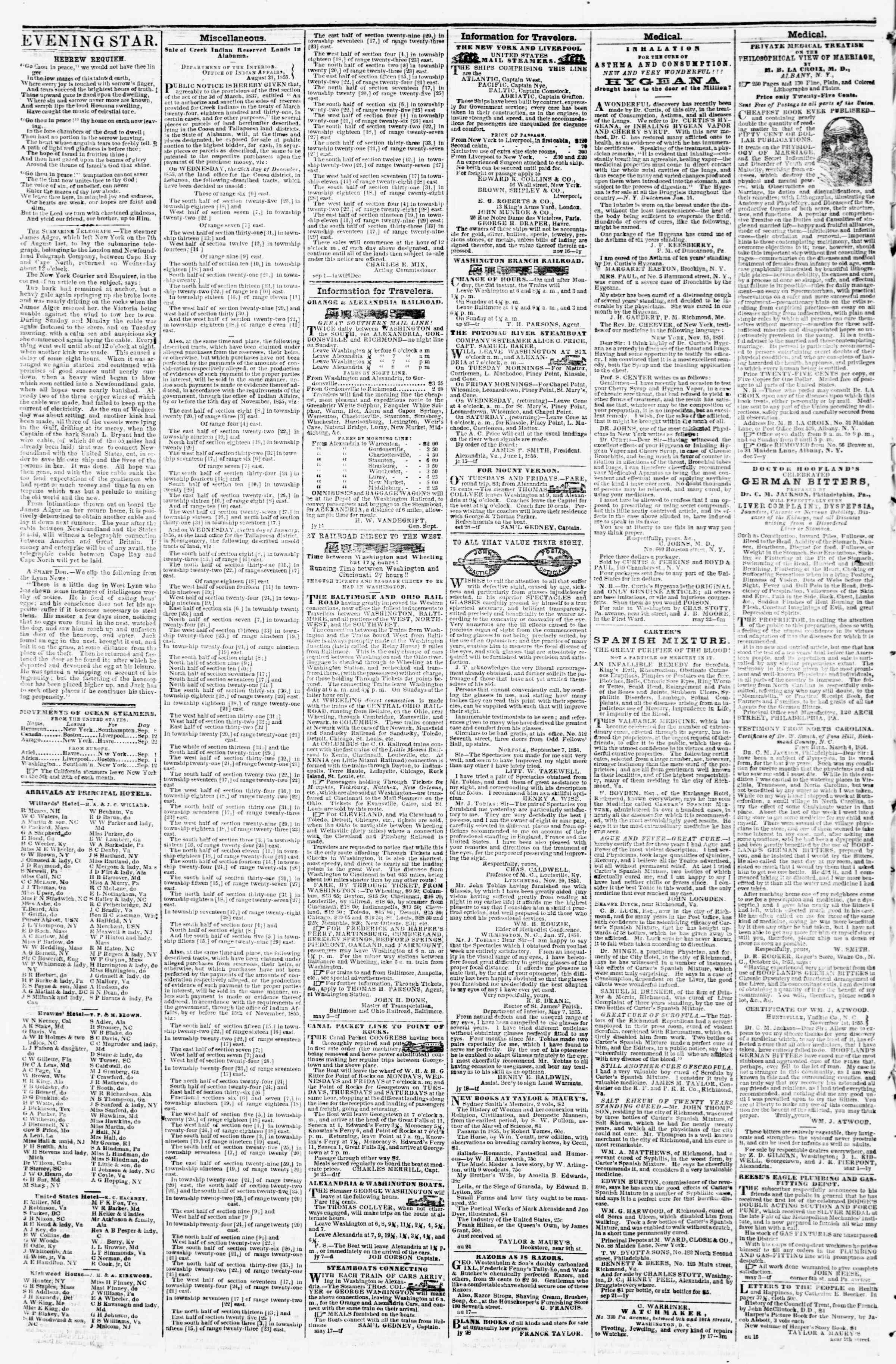 Newspaper of Evening Star dated September 8, 1855 Page 4