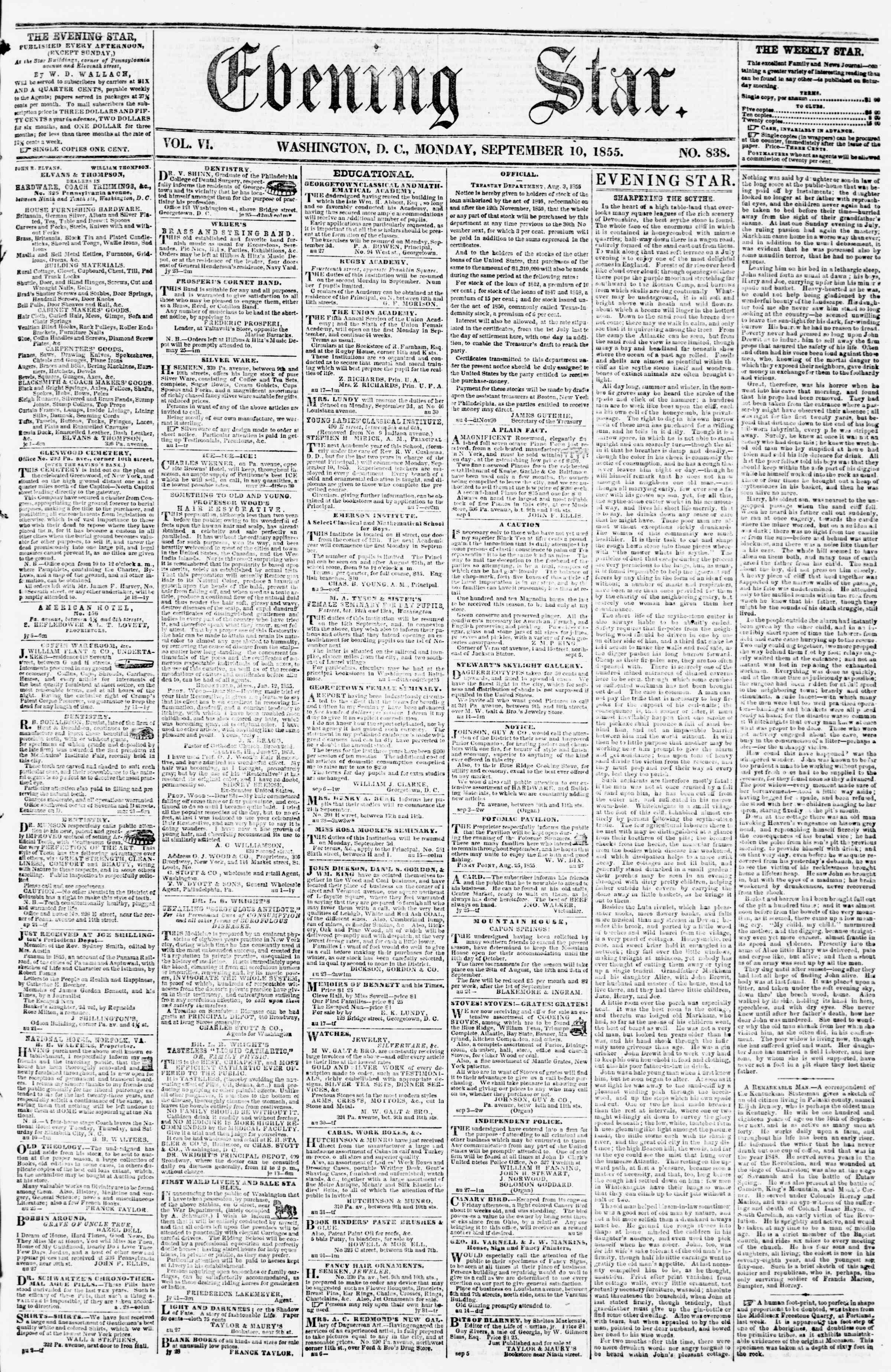 Newspaper of Evening Star dated September 10, 1855 Page 1