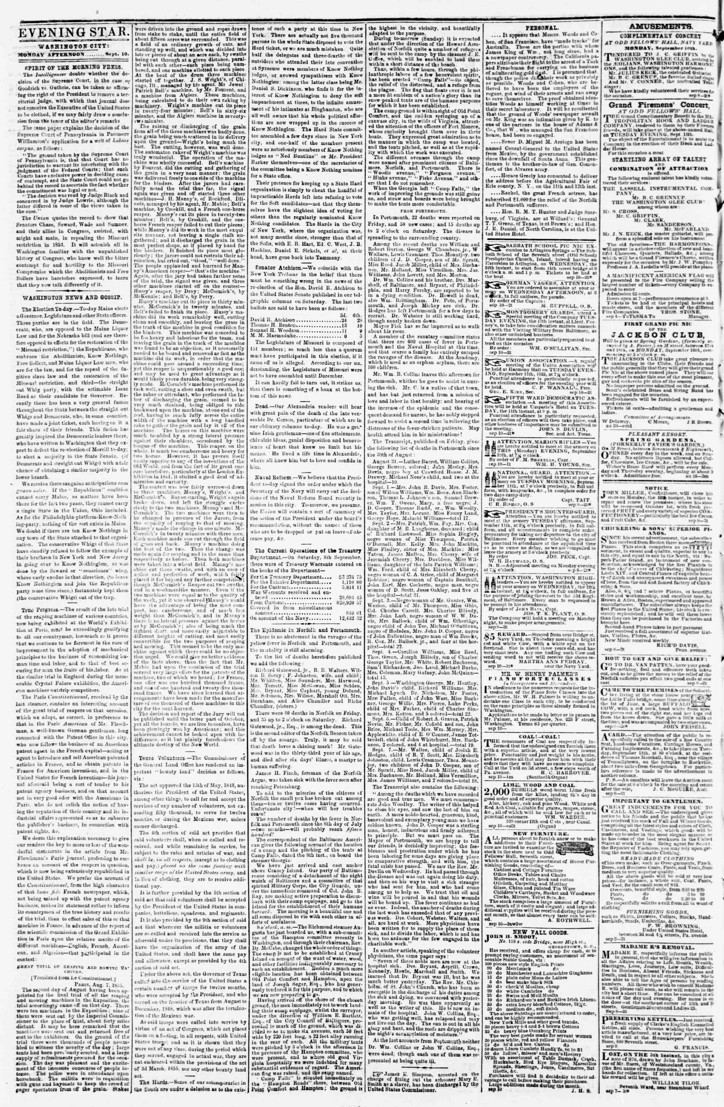 Newspaper of Evening Star dated September 10, 1855 Page 2