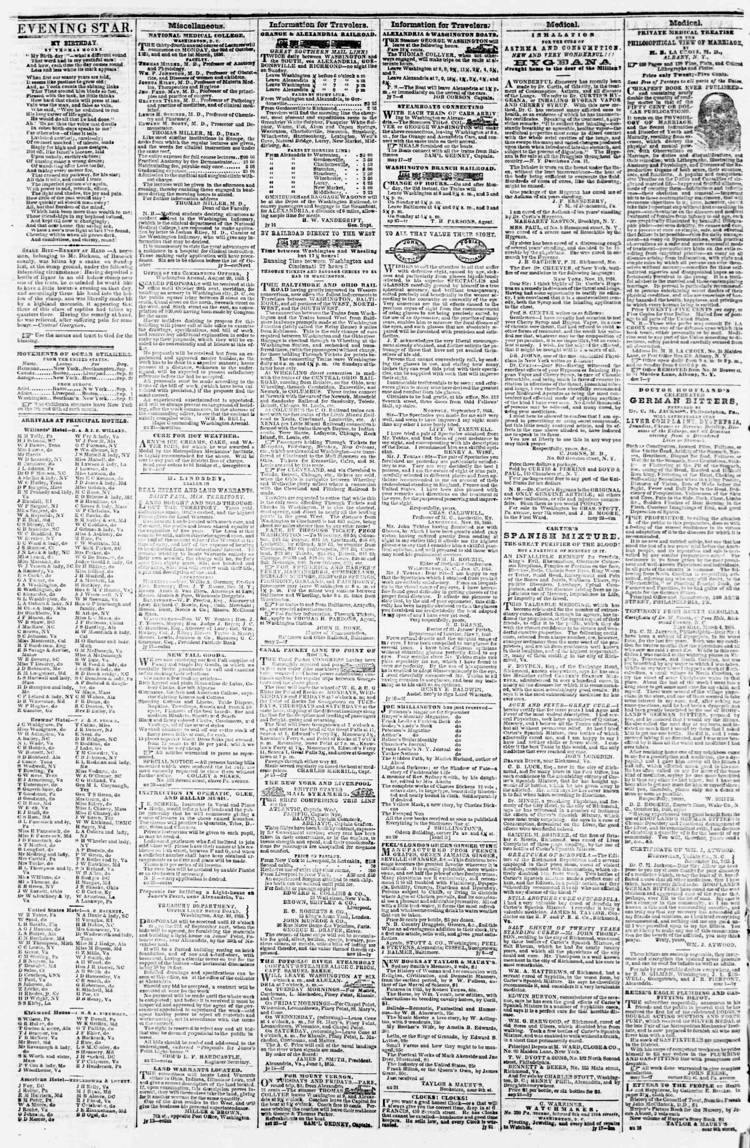 Newspaper of Evening Star dated September 10, 1855 Page 4