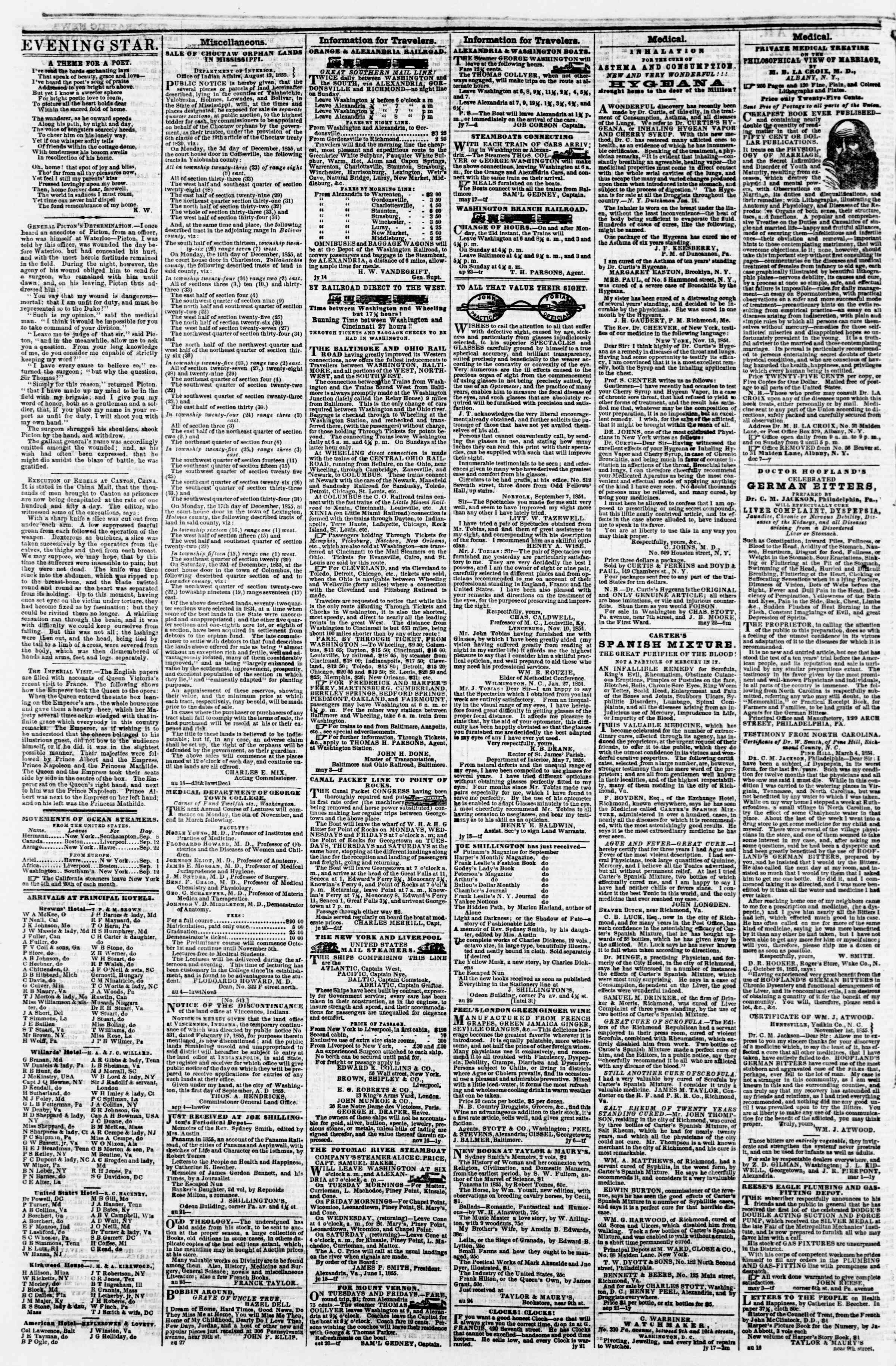 Newspaper of Evening Star dated September 11, 1855 Page 4