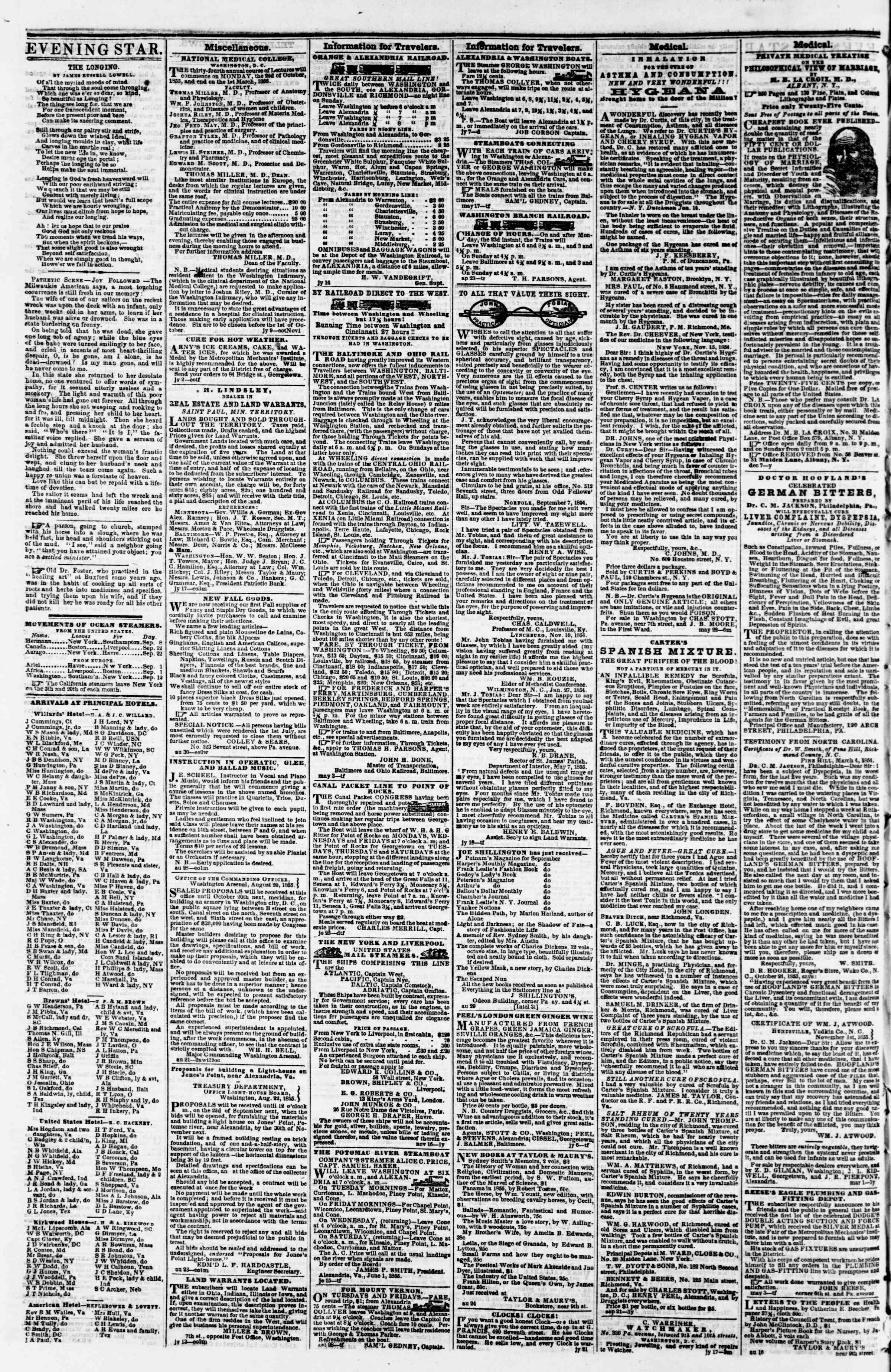 Newspaper of Evening Star dated September 12, 1855 Page 4