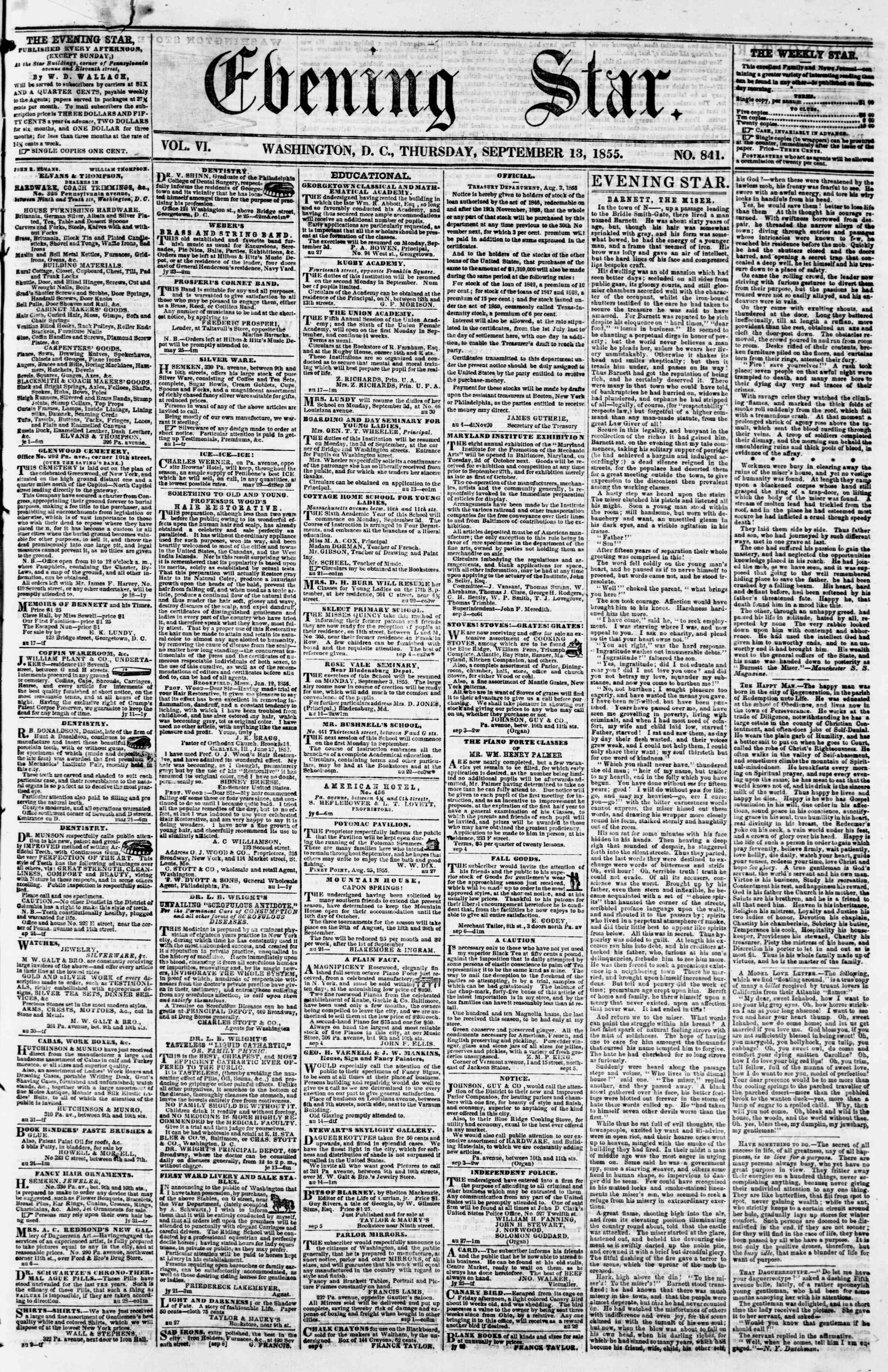 Newspaper of Evening Star dated September 13, 1855 Page 1