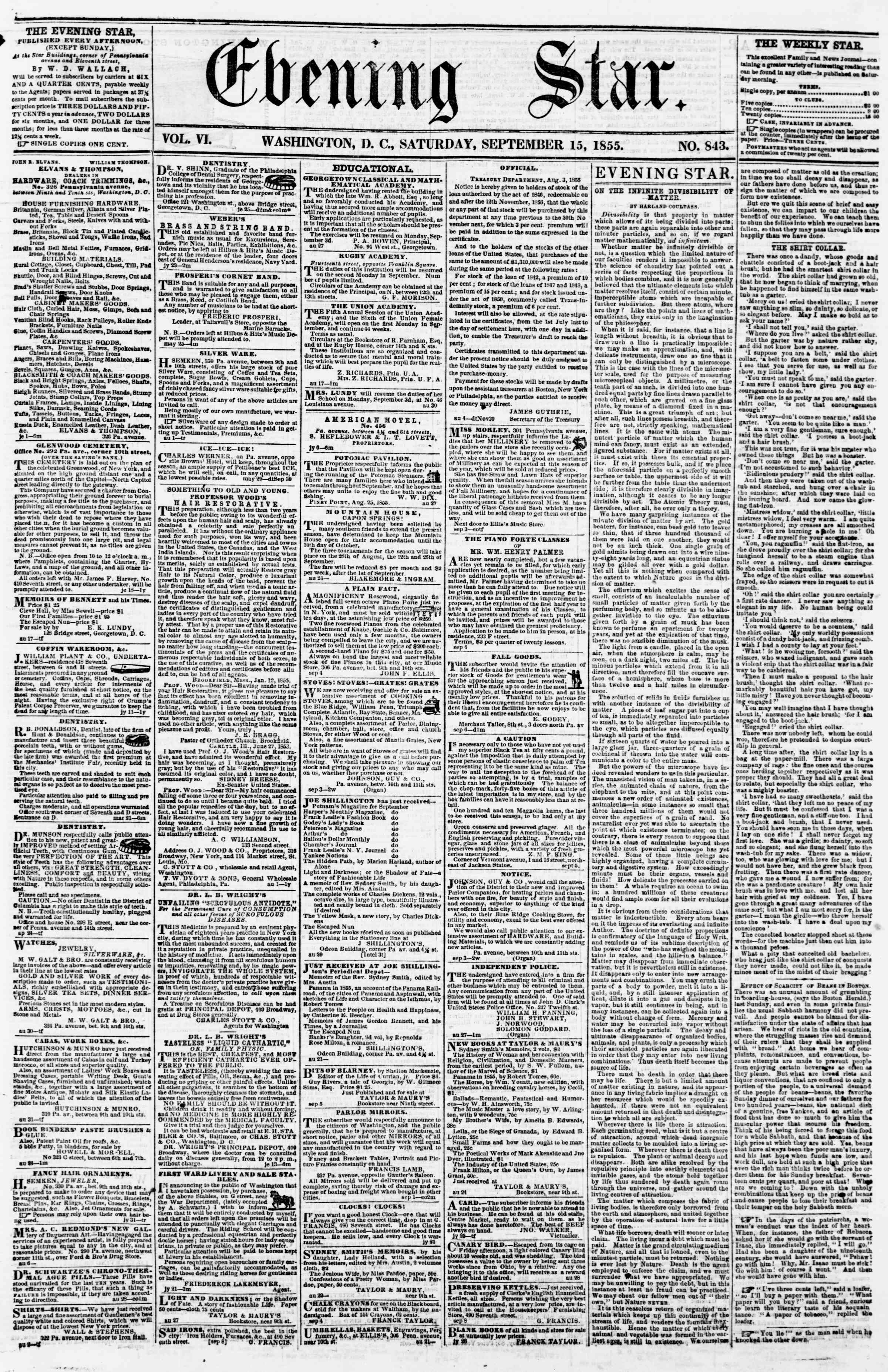 Newspaper of Evening Star dated September 15, 1855 Page 1