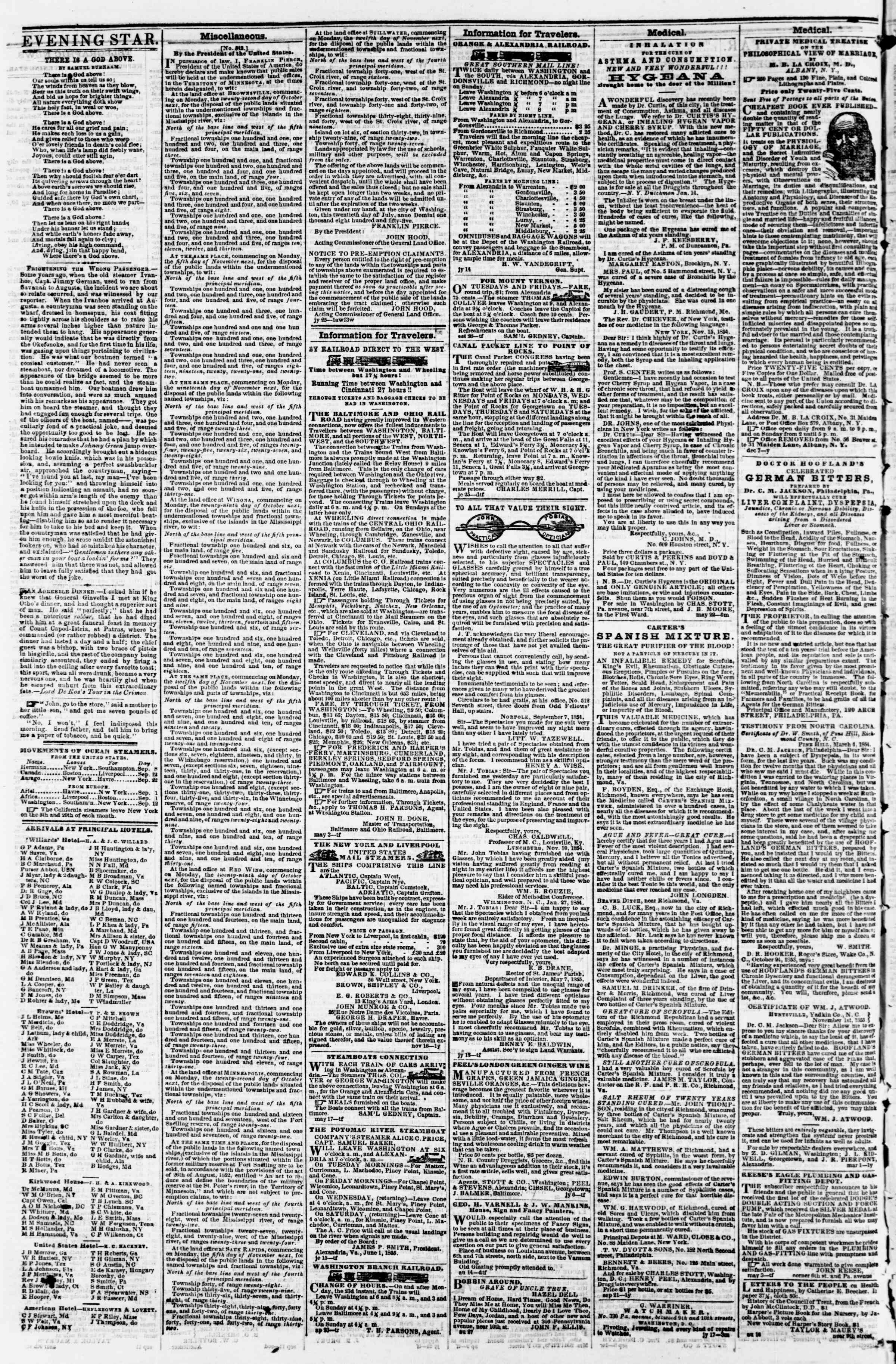 Newspaper of Evening Star dated September 15, 1855 Page 4
