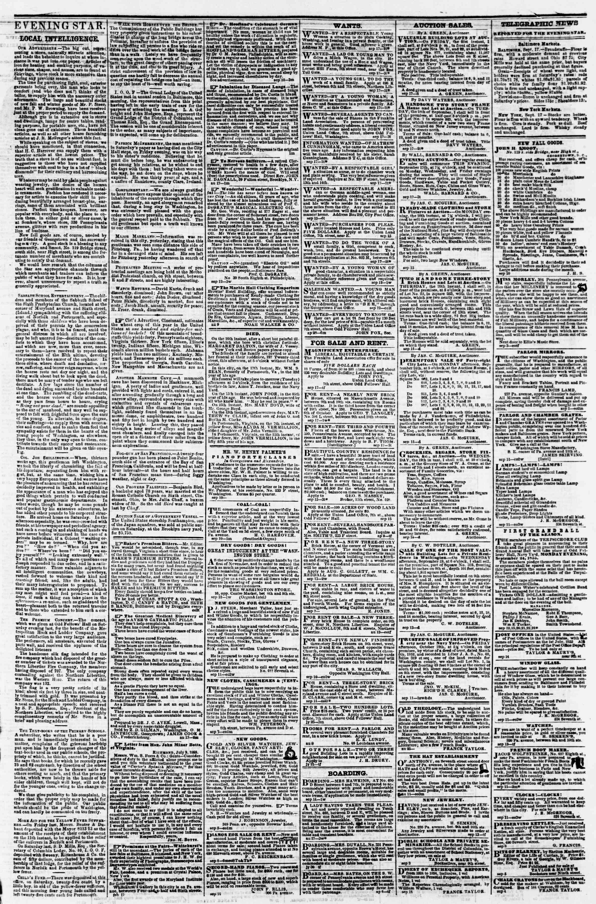 Newspaper of Evening Star dated September 17, 1855 Page 3