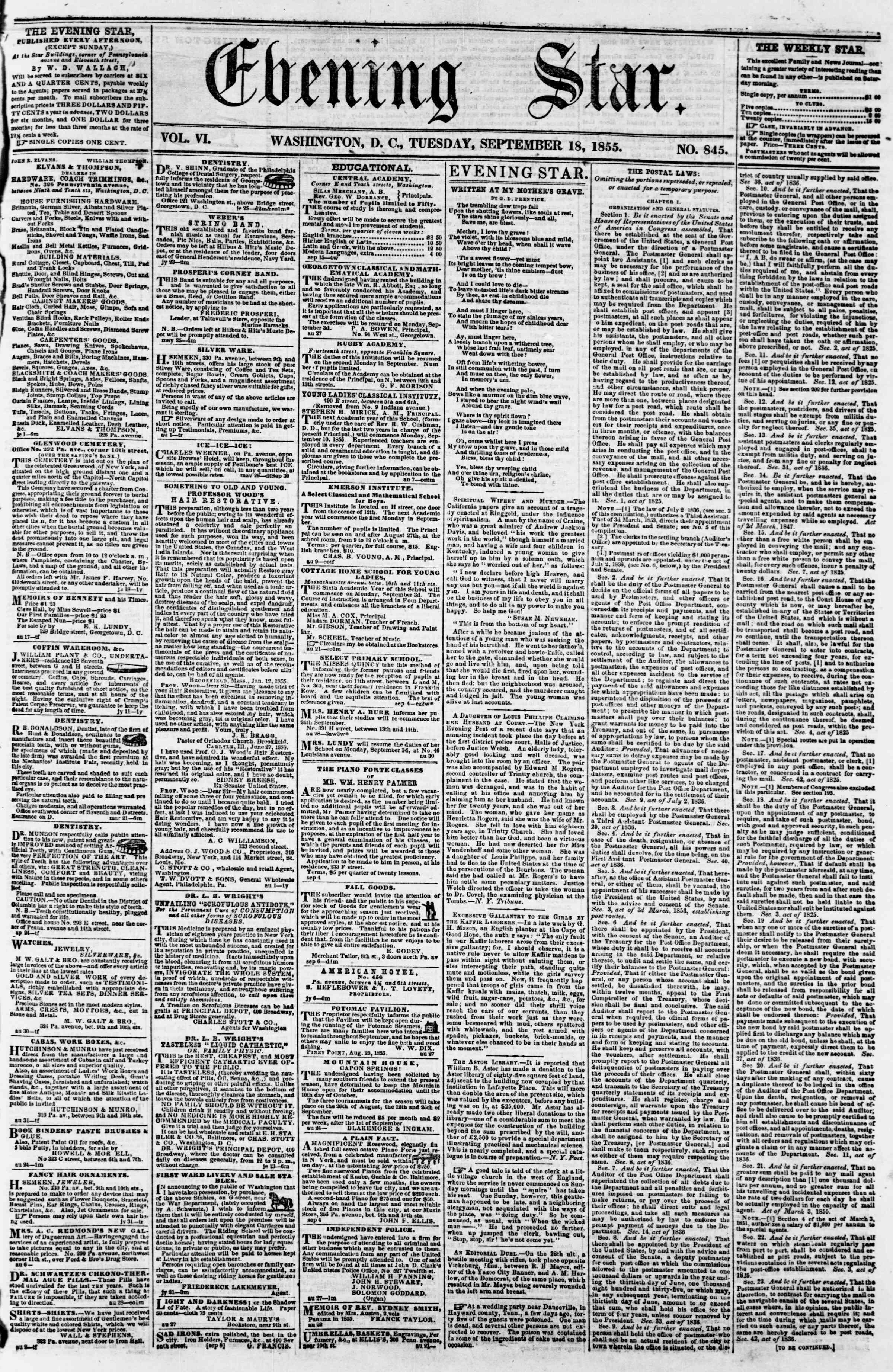 Newspaper of Evening Star dated September 18, 1855 Page 1