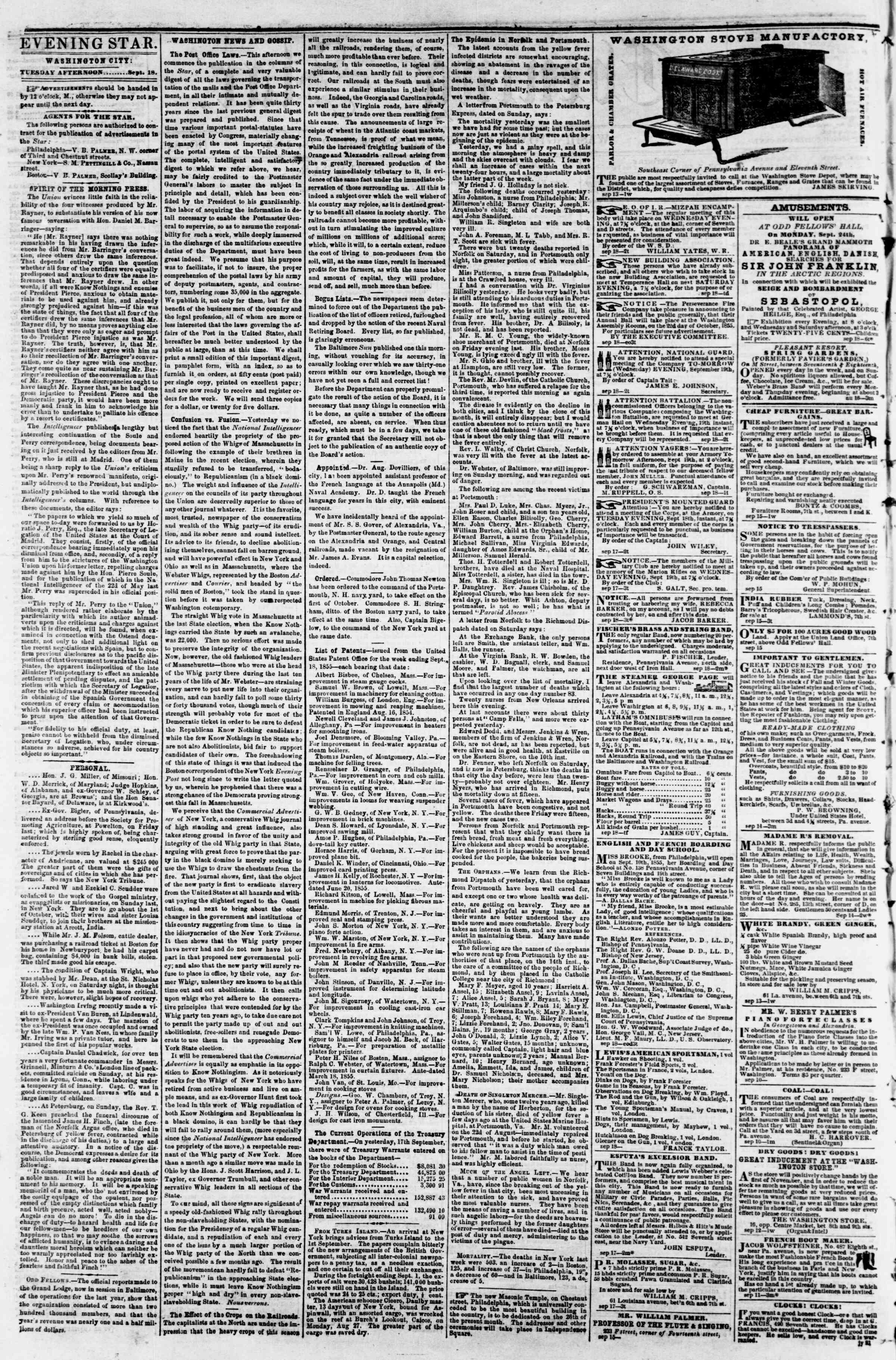 Newspaper of Evening Star dated September 18, 1855 Page 2