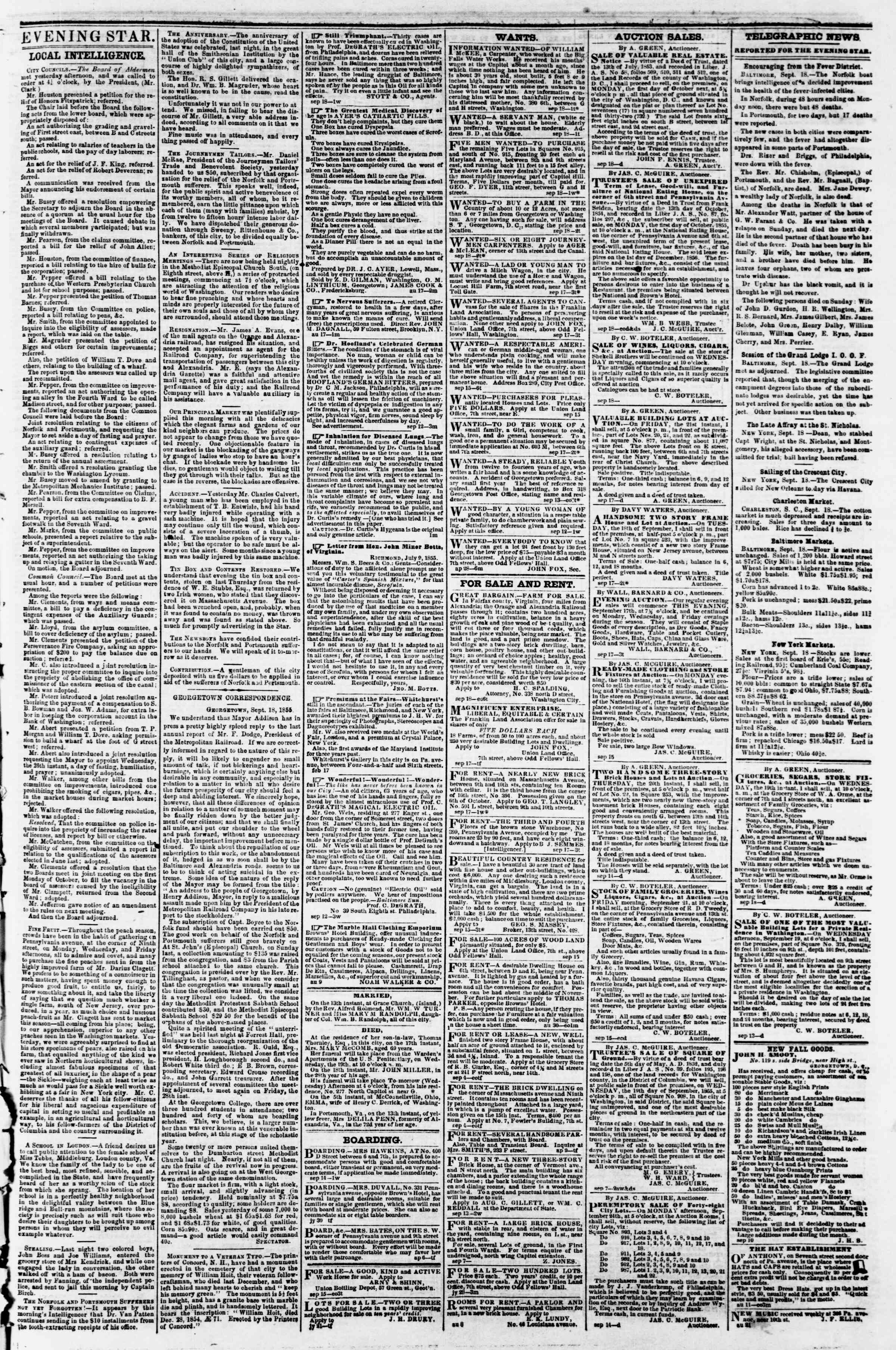 Newspaper of Evening Star dated September 18, 1855 Page 3