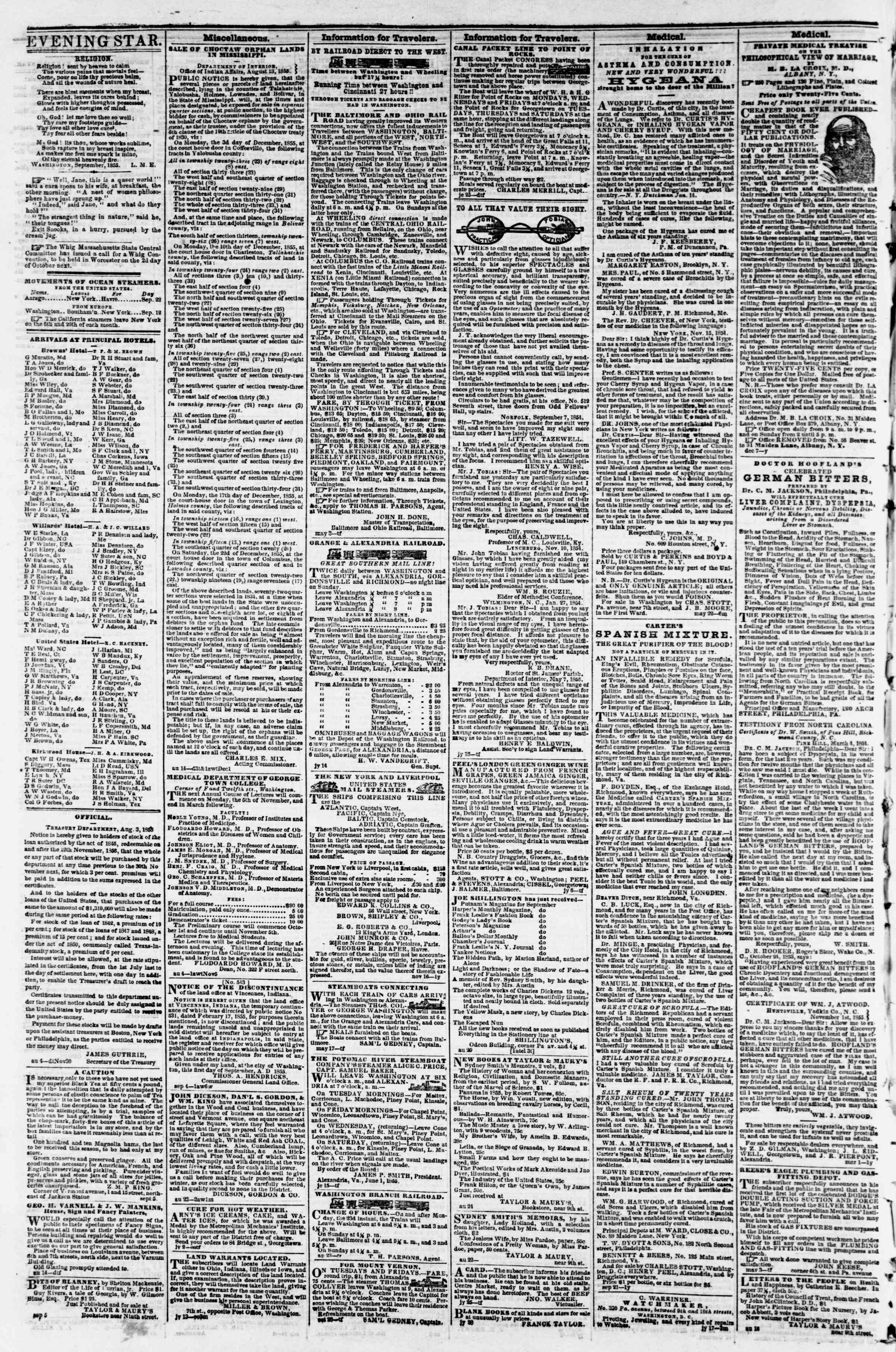 Newspaper of Evening Star dated September 18, 1855 Page 4