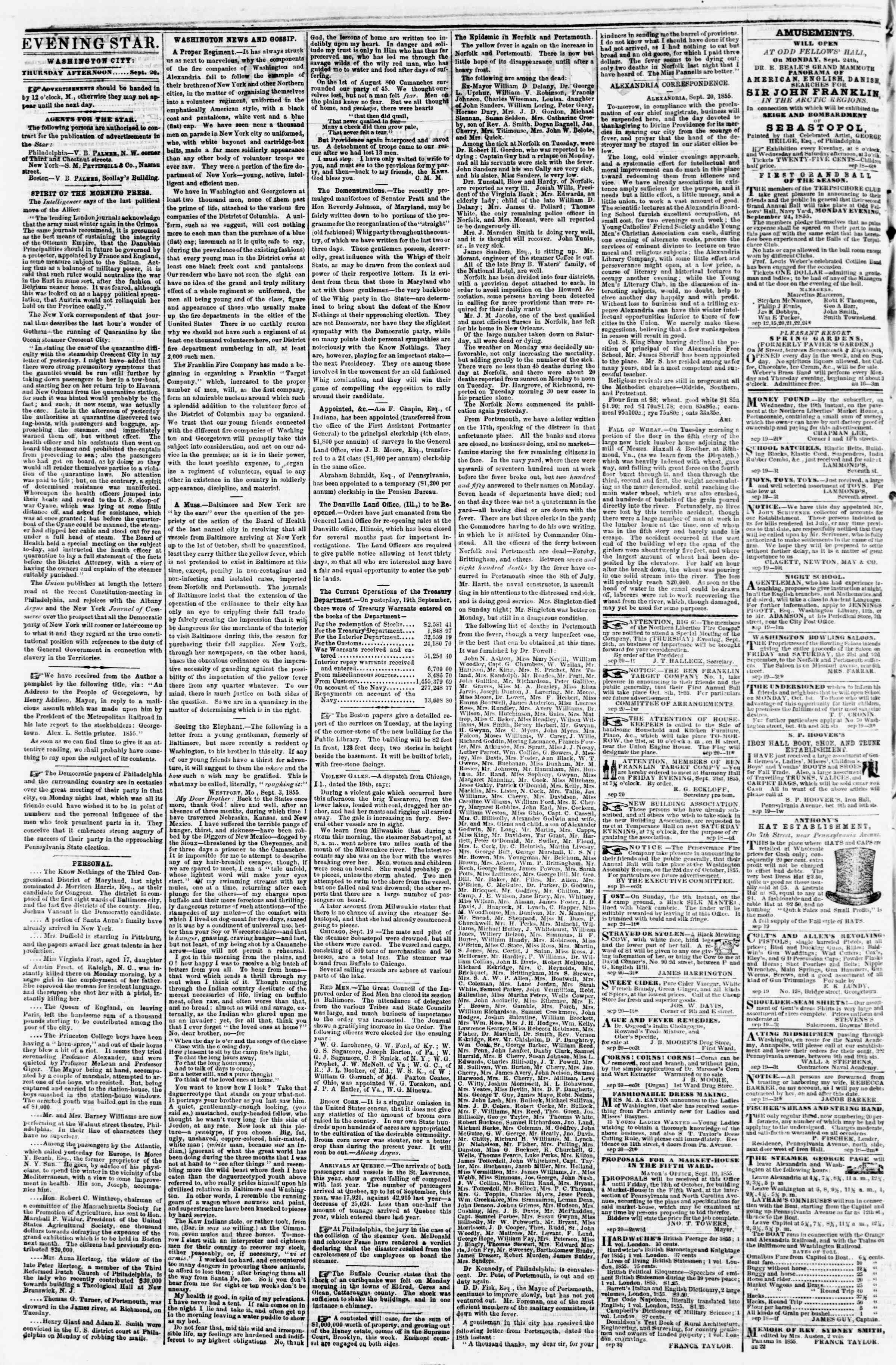 Newspaper of Evening Star dated September 20, 1855 Page 2