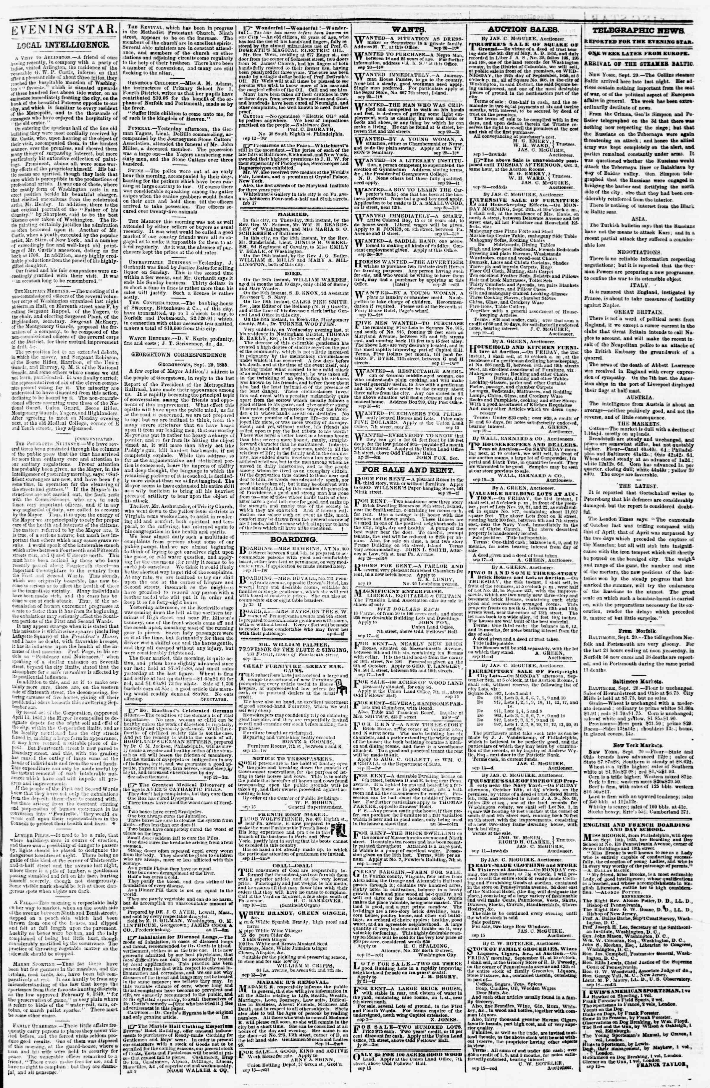 Newspaper of Evening Star dated 20 Eylül 1855 Page 3