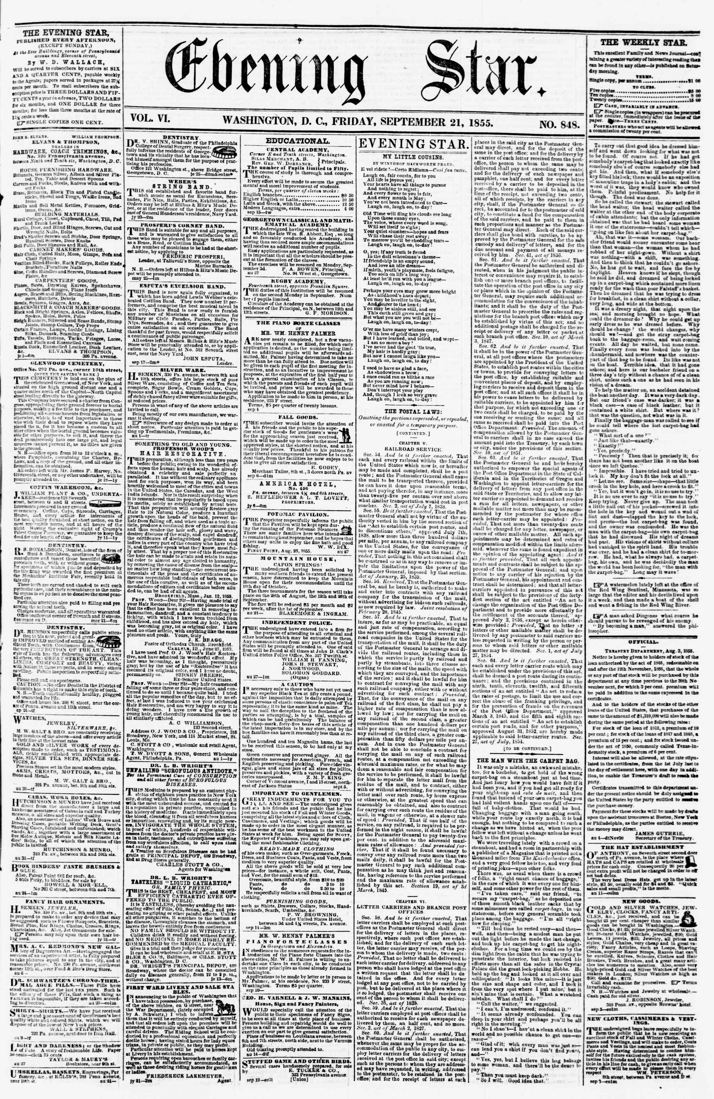 Newspaper of Evening Star dated September 21, 1855 Page 1