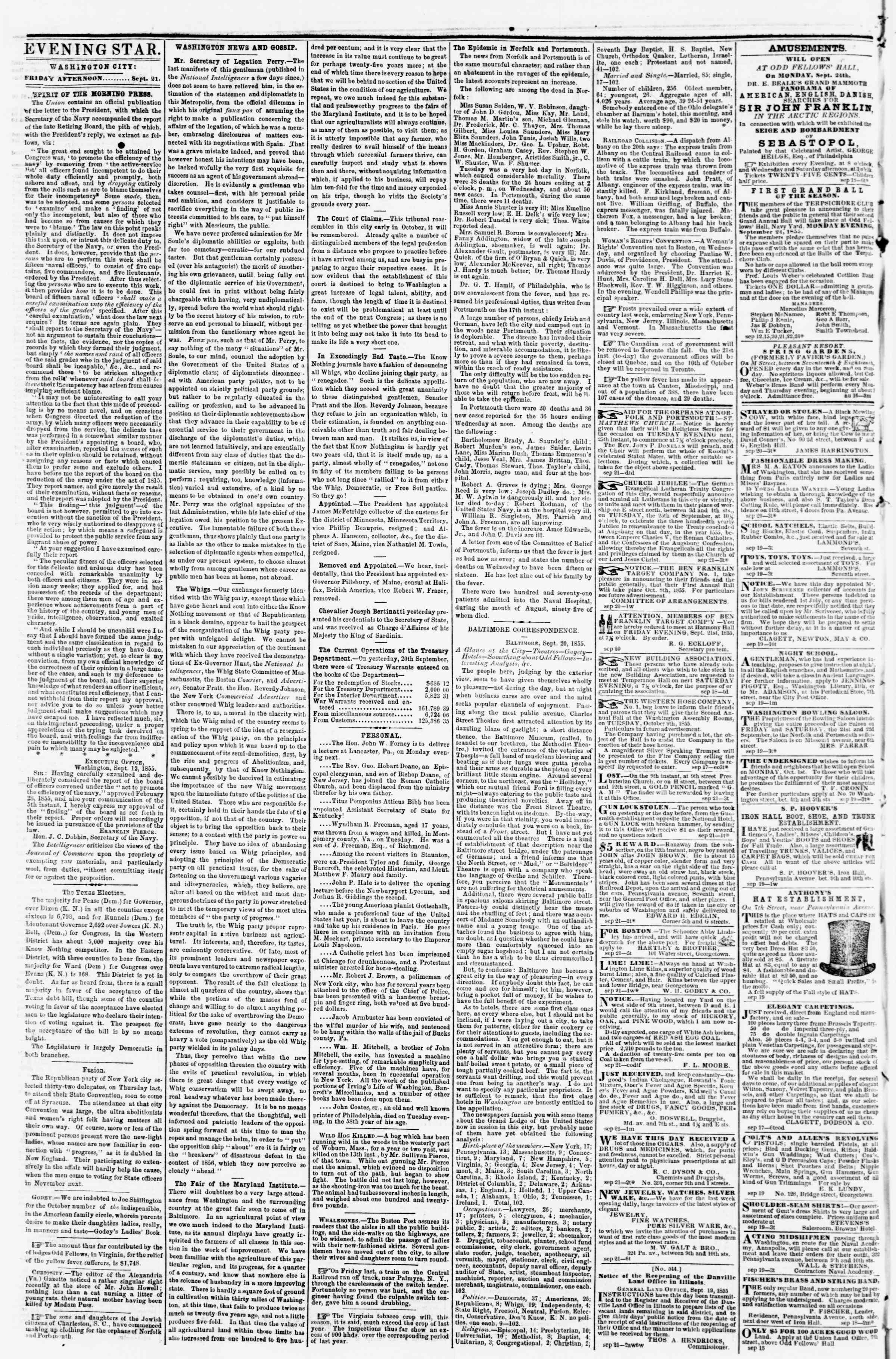 Newspaper of Evening Star dated September 21, 1855 Page 2