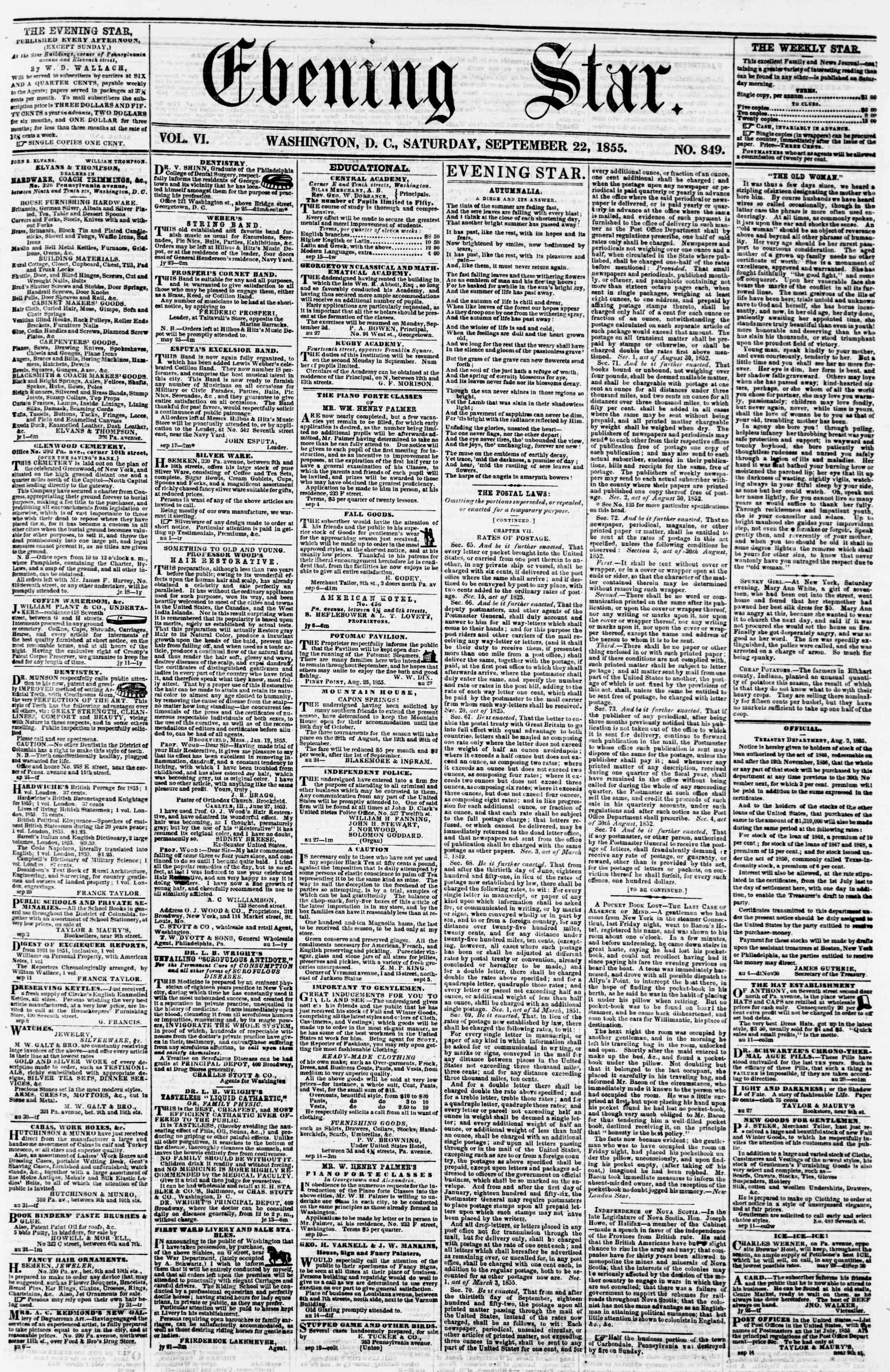 22 Eylül 1855 tarihli Evening Star Gazetesi Sayfa 1