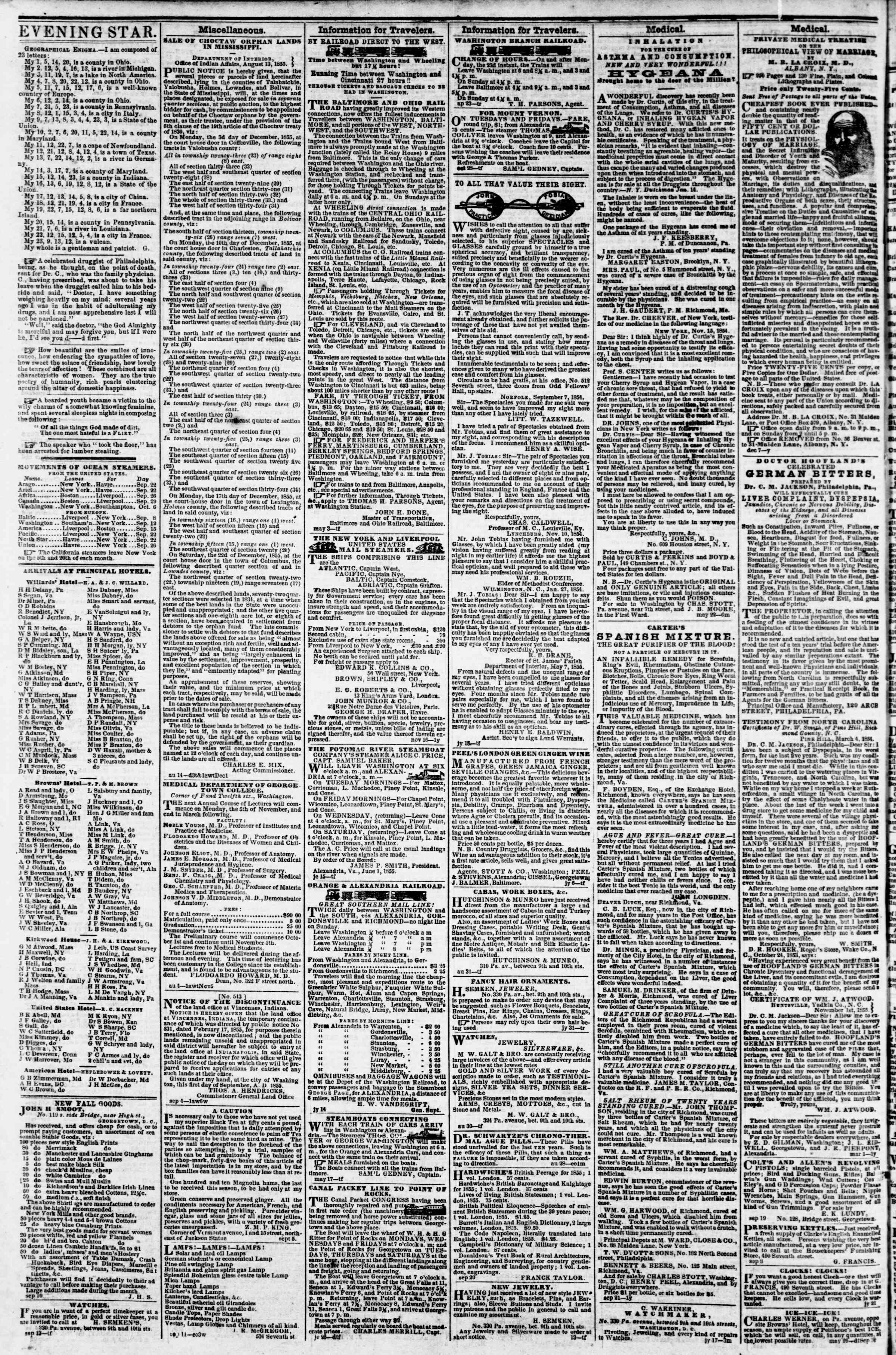 Newspaper of Evening Star dated September 25, 1855 Page 4