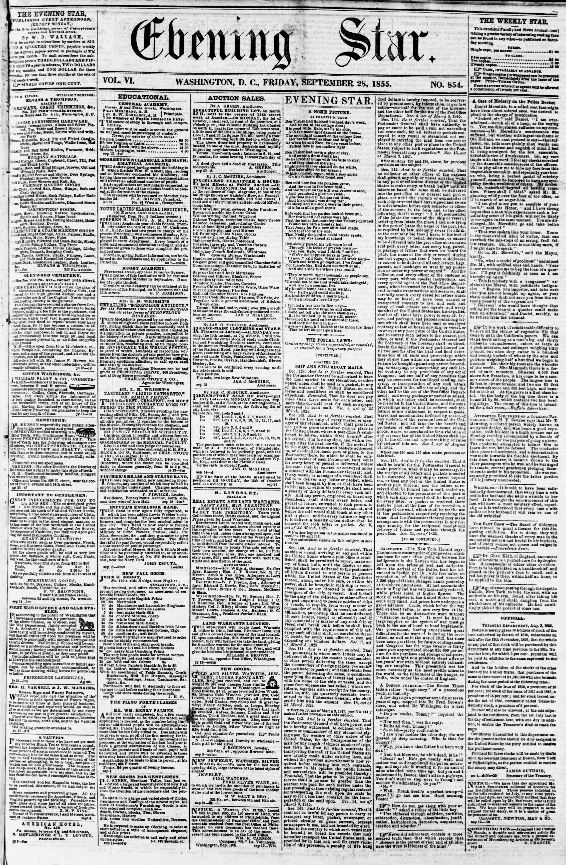 Newspaper of Evening Star dated 28 Eylül 1855 Page 1