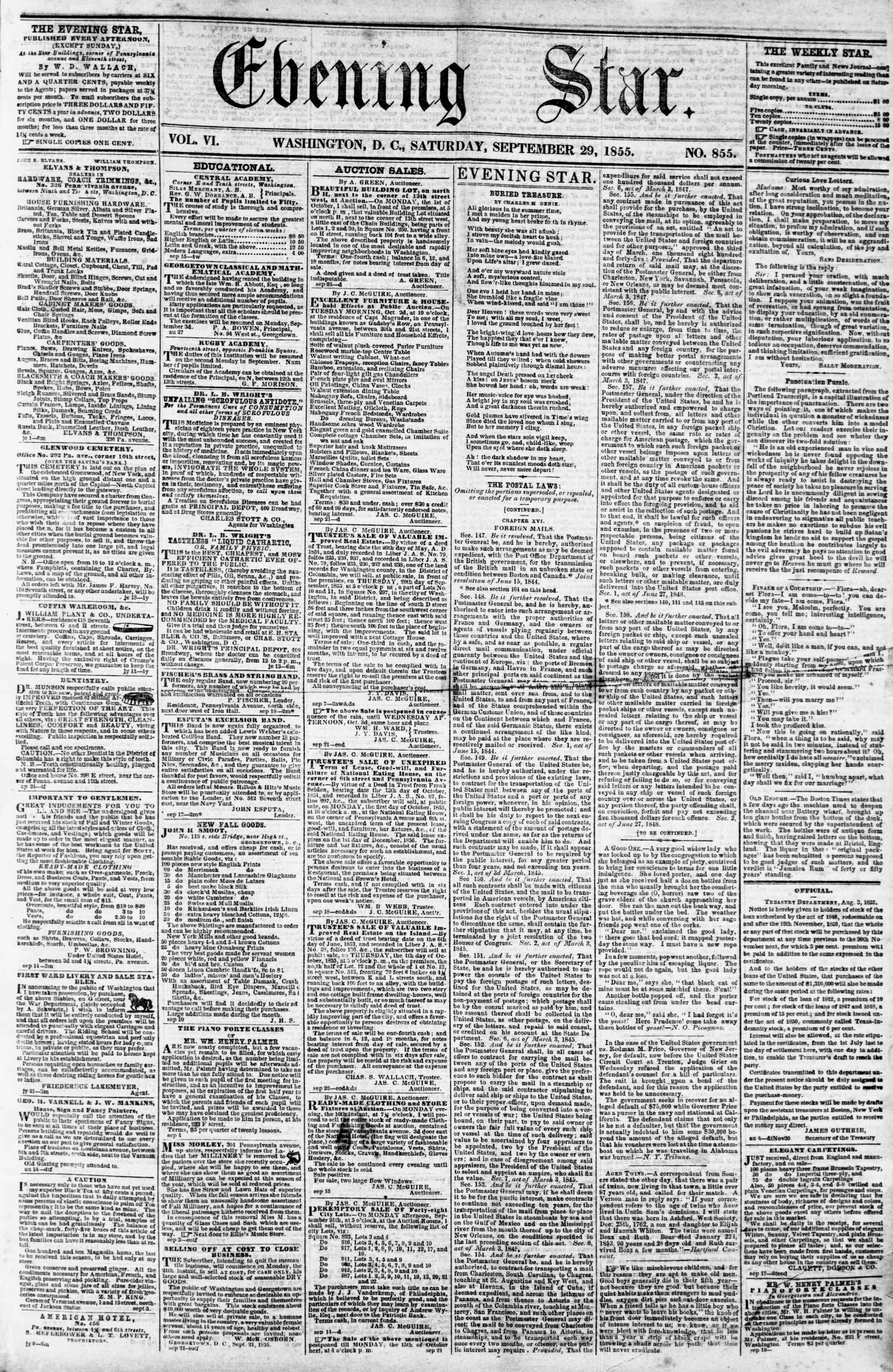 Newspaper of Evening Star dated September 29, 1855 Page 1