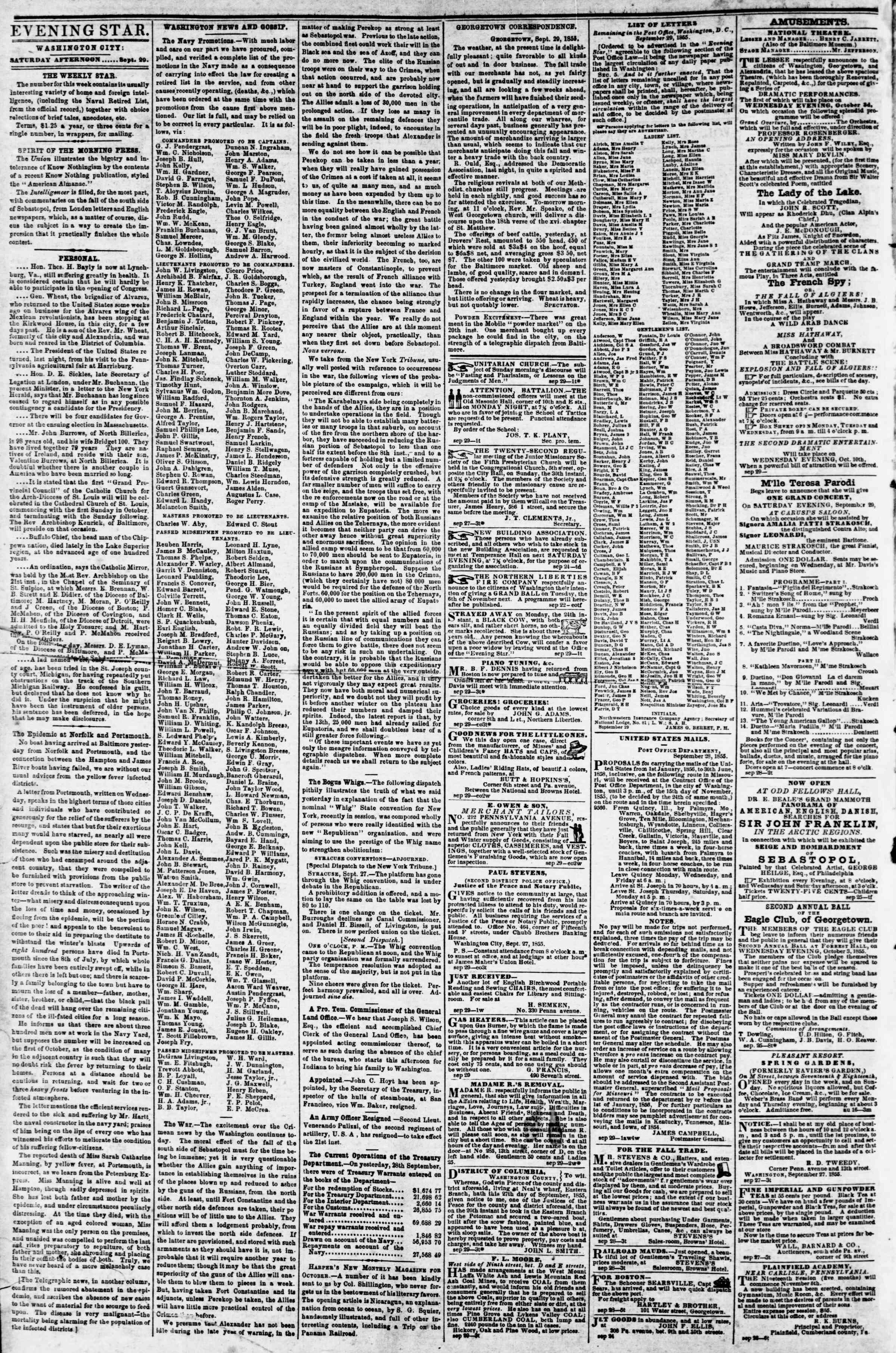Newspaper of Evening Star dated September 29, 1855 Page 2