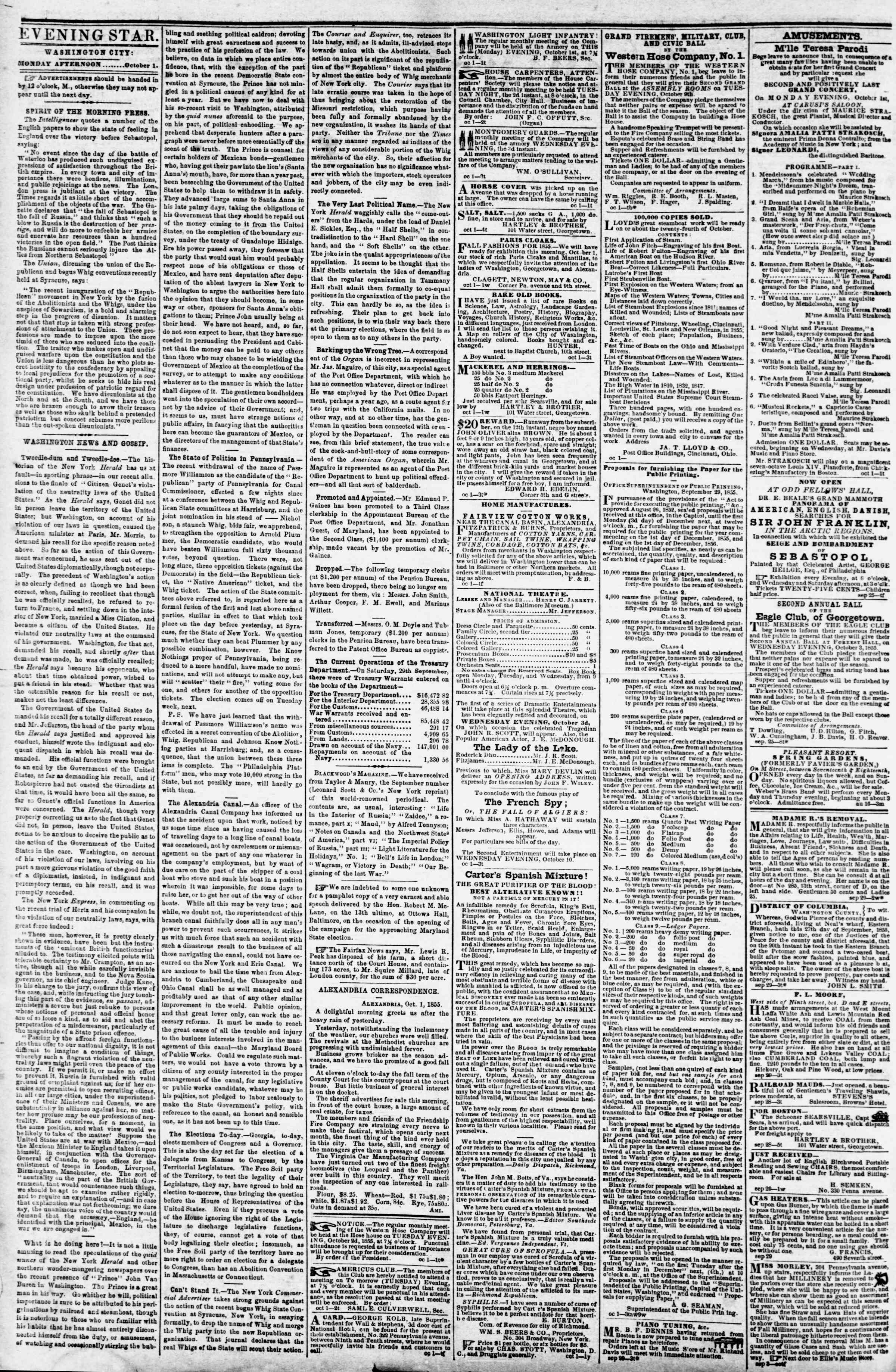 Newspaper of Evening Star dated October 1, 1855 Page 2