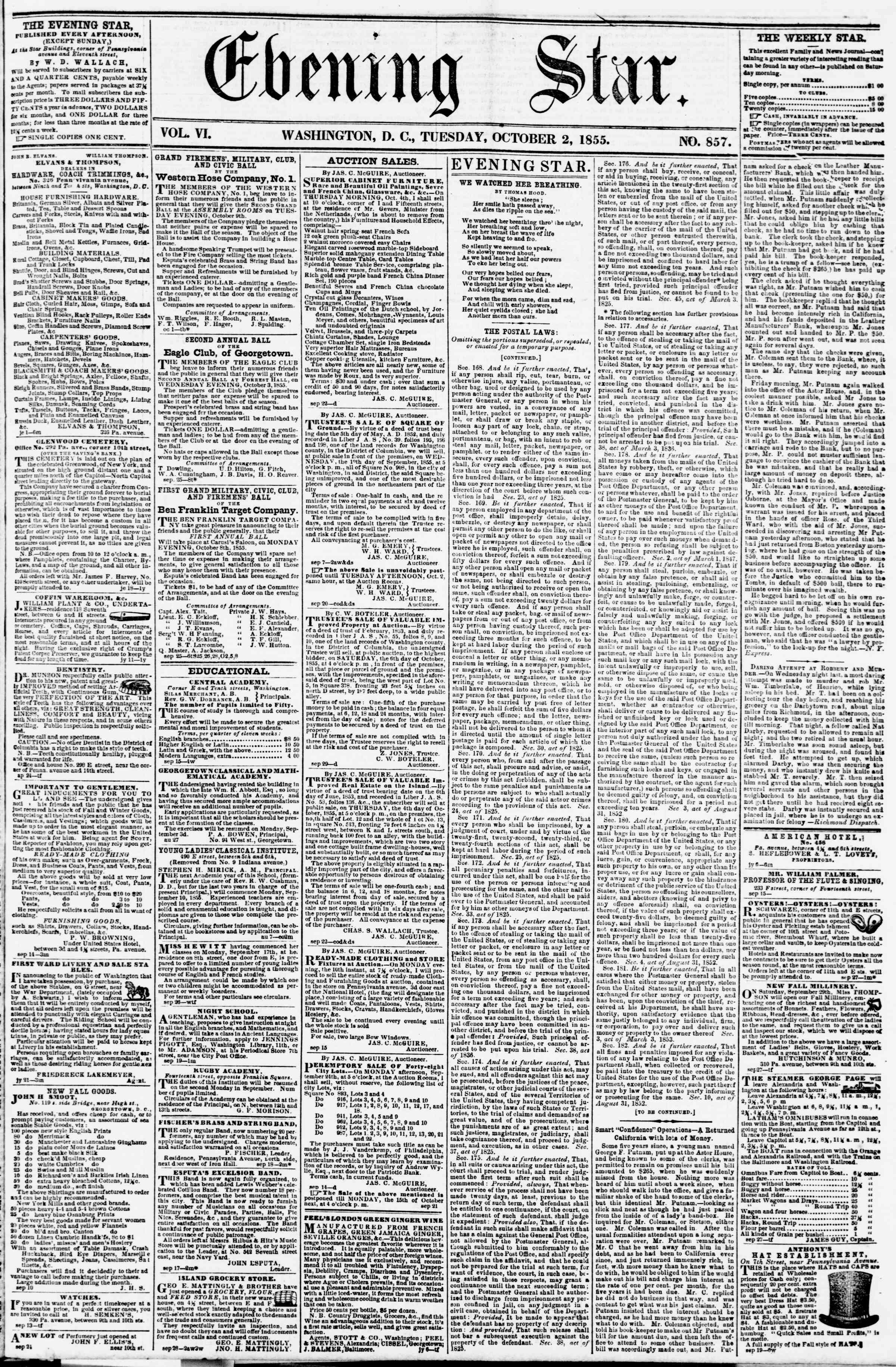 Newspaper of Evening Star dated October 2, 1855 Page 1