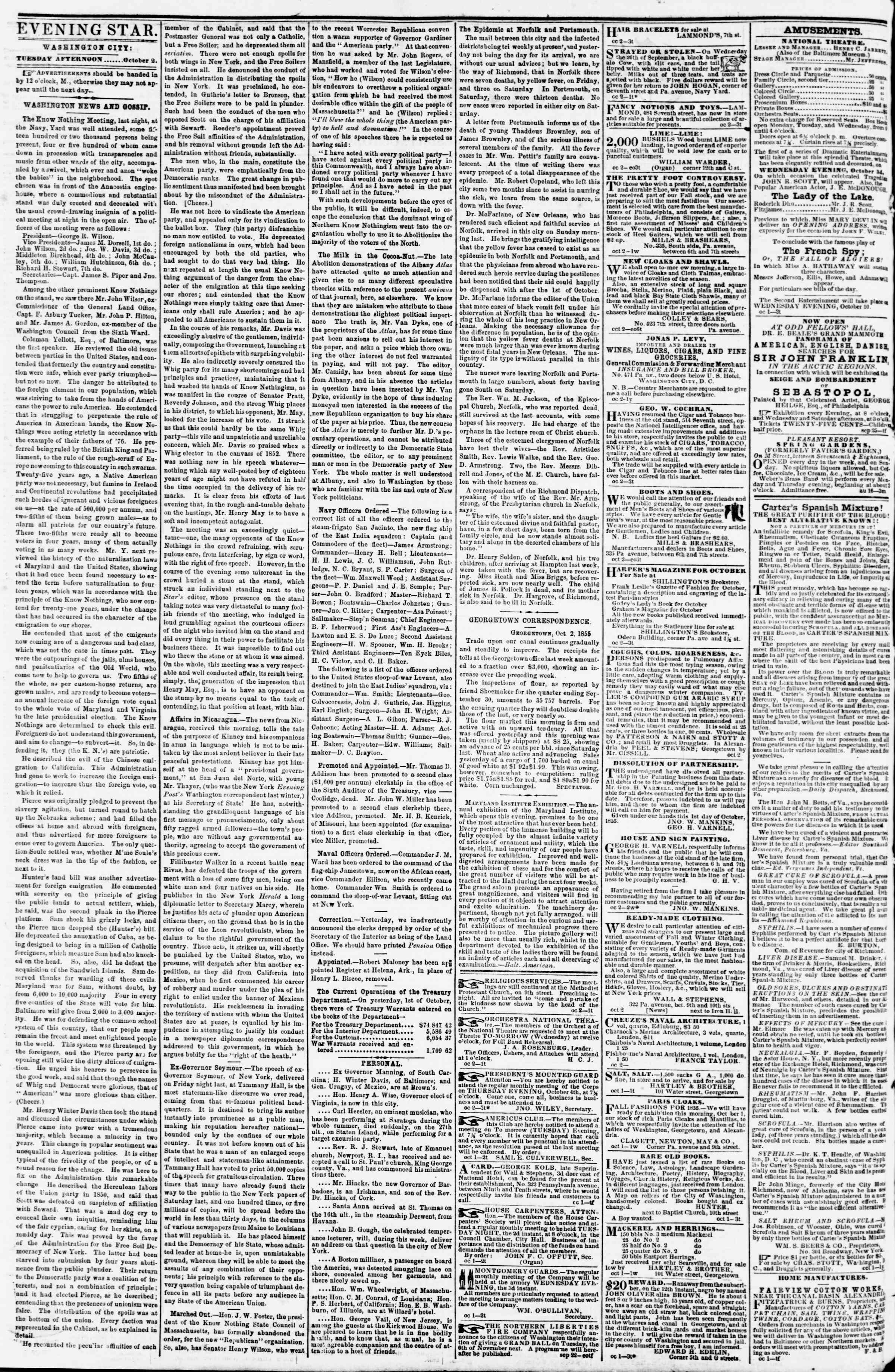 Newspaper of Evening Star dated October 2, 1855 Page 2