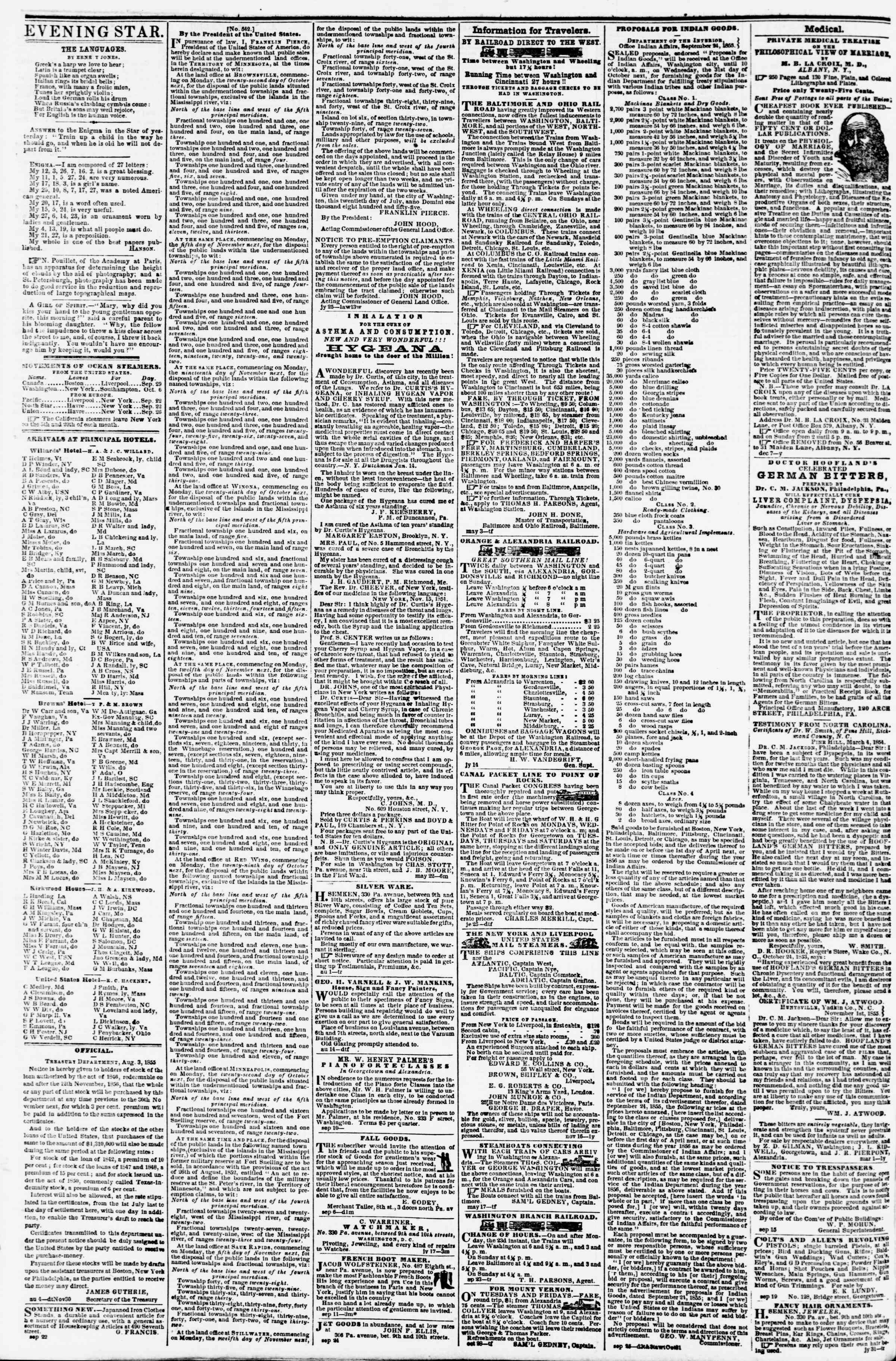 Newspaper of Evening Star dated October 2, 1855 Page 4