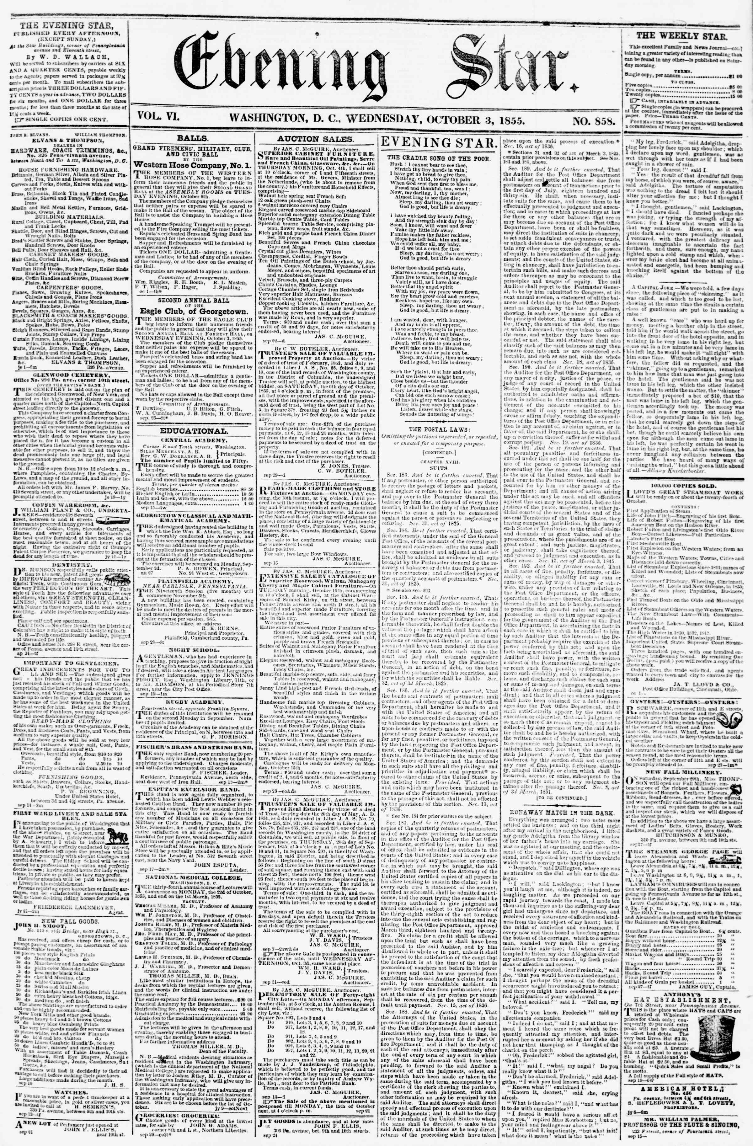 Newspaper of Evening Star dated October 3, 1855 Page 1