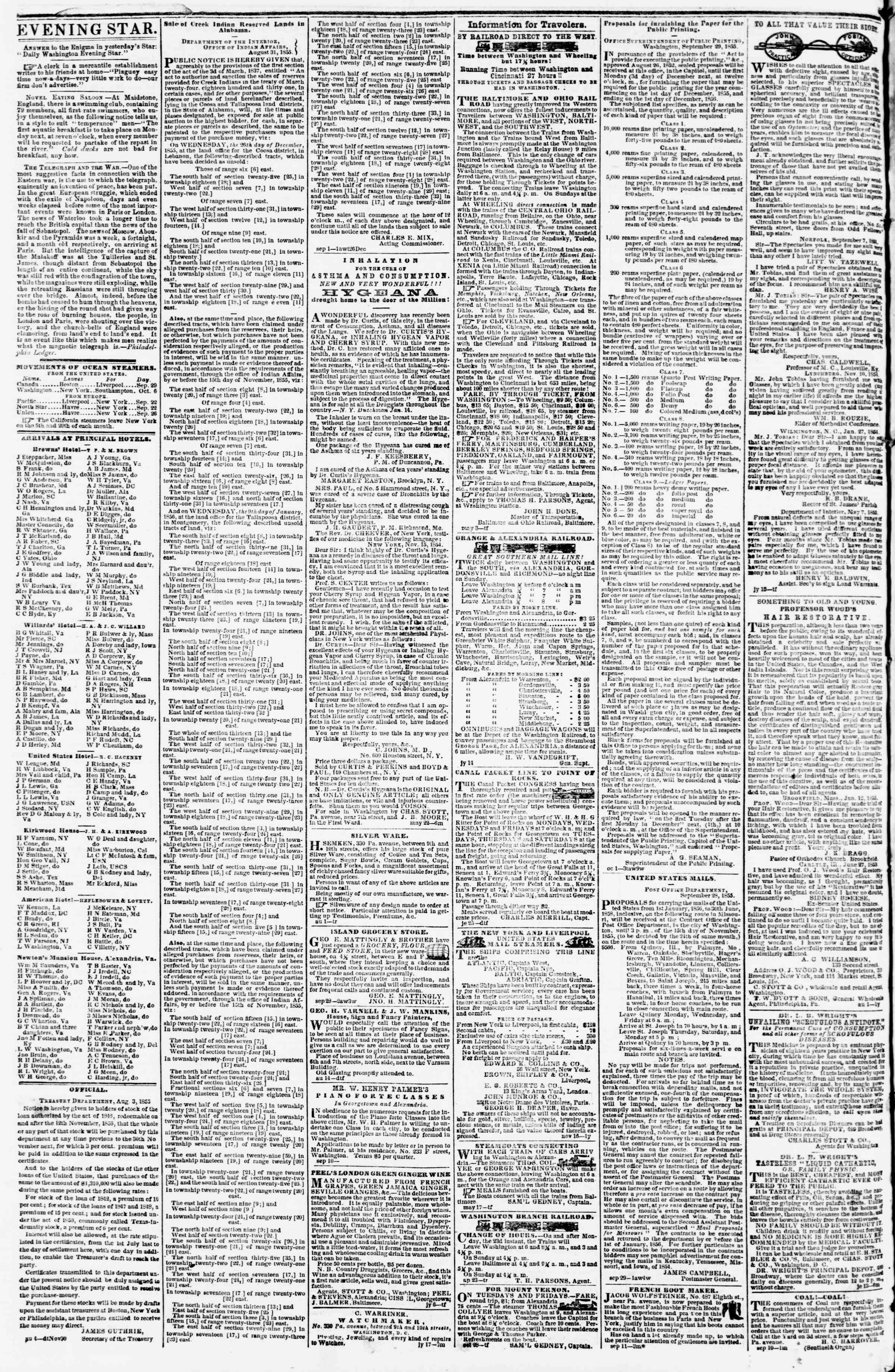 Newspaper of Evening Star dated October 3, 1855 Page 4