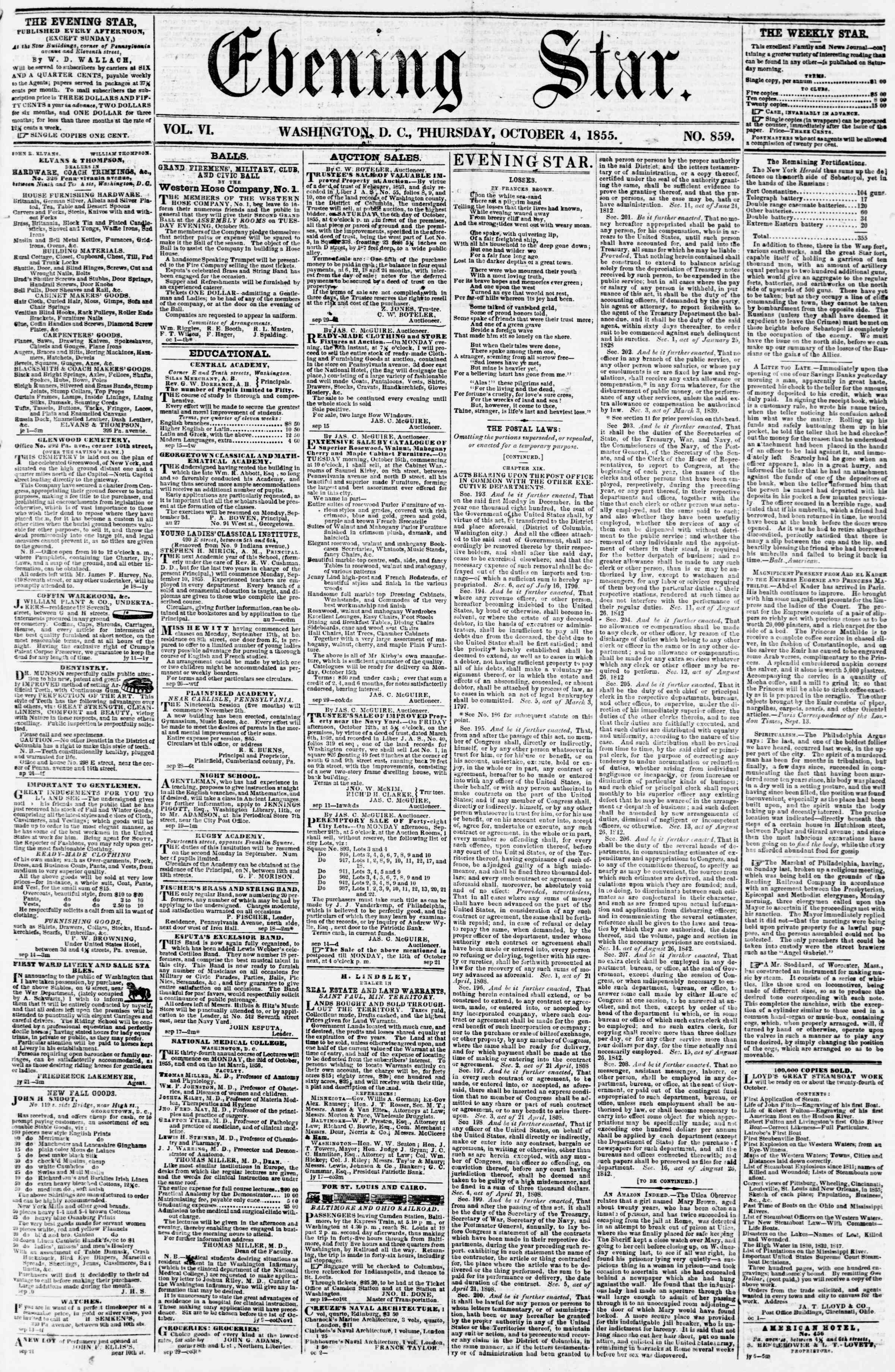 Newspaper of Evening Star dated October 4, 1855 Page 1
