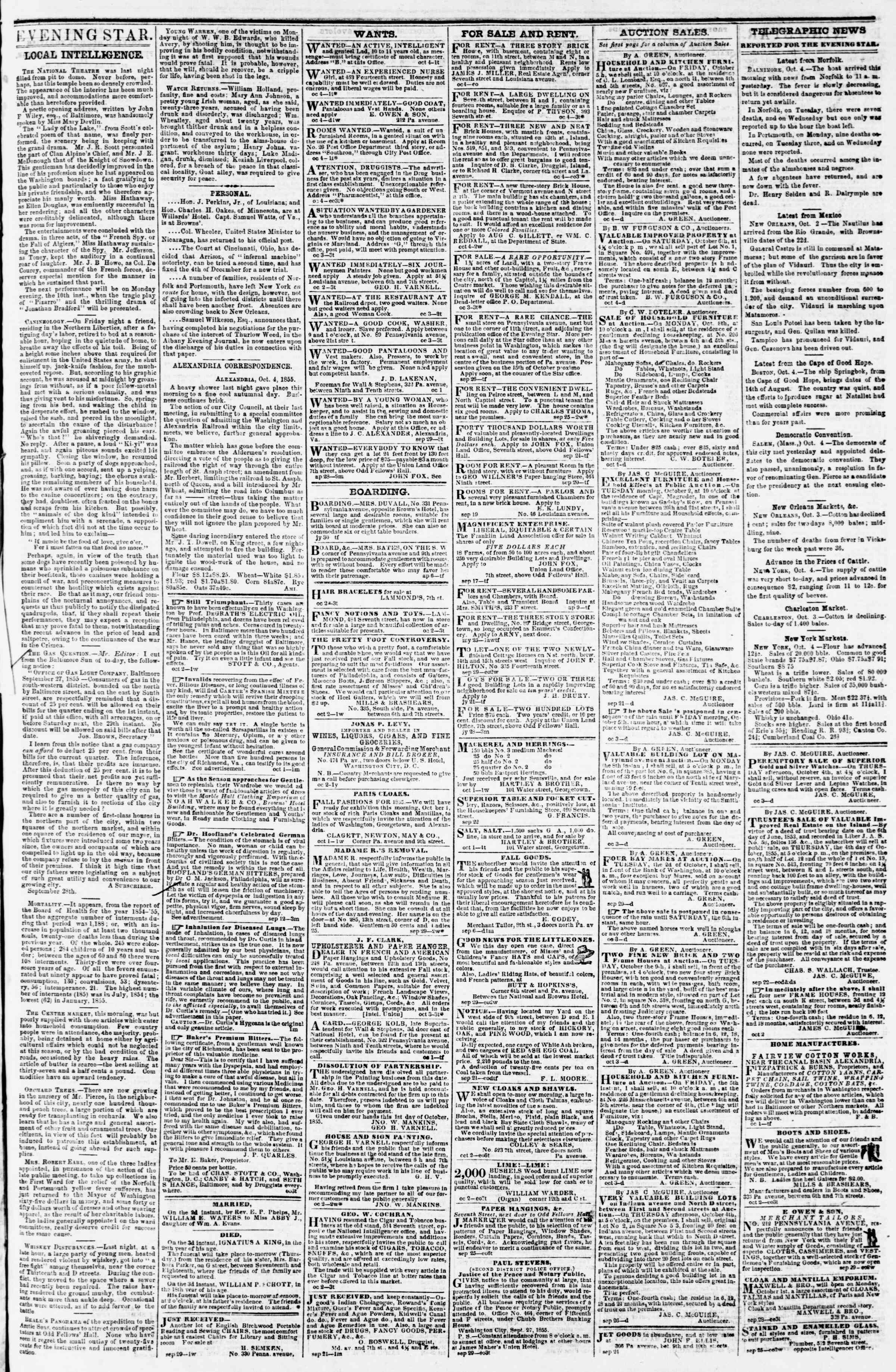 Newspaper of Evening Star dated October 4, 1855 Page 3