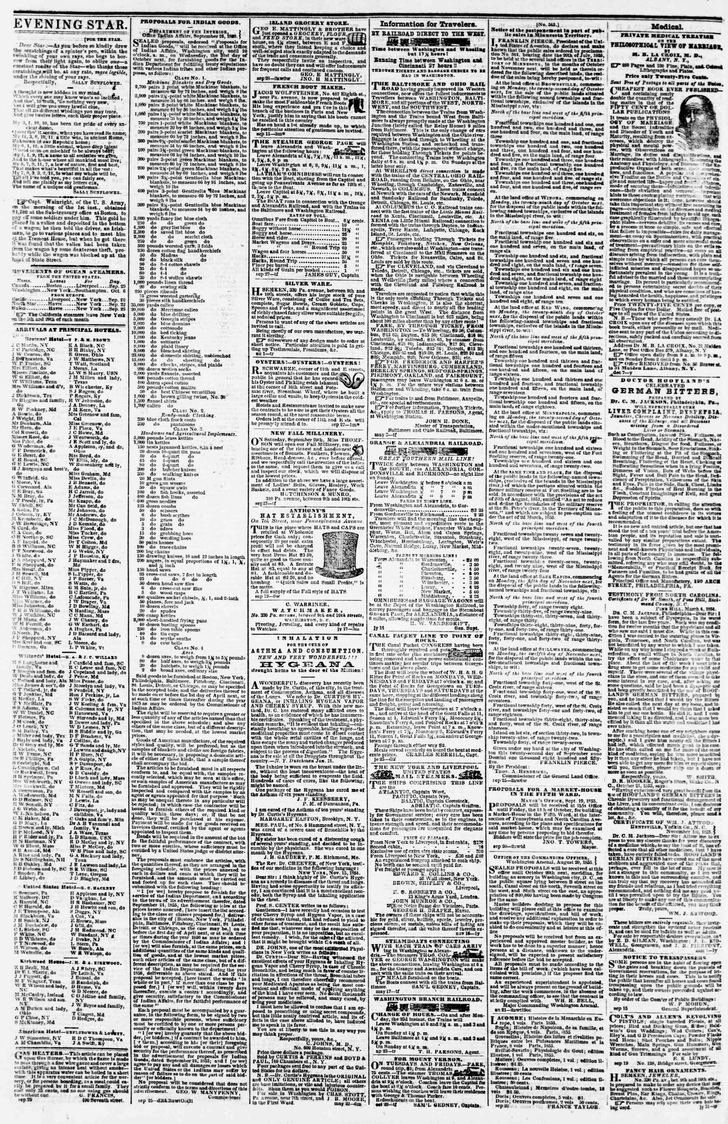 Newspaper of Evening Star dated October 4, 1855 Page 4