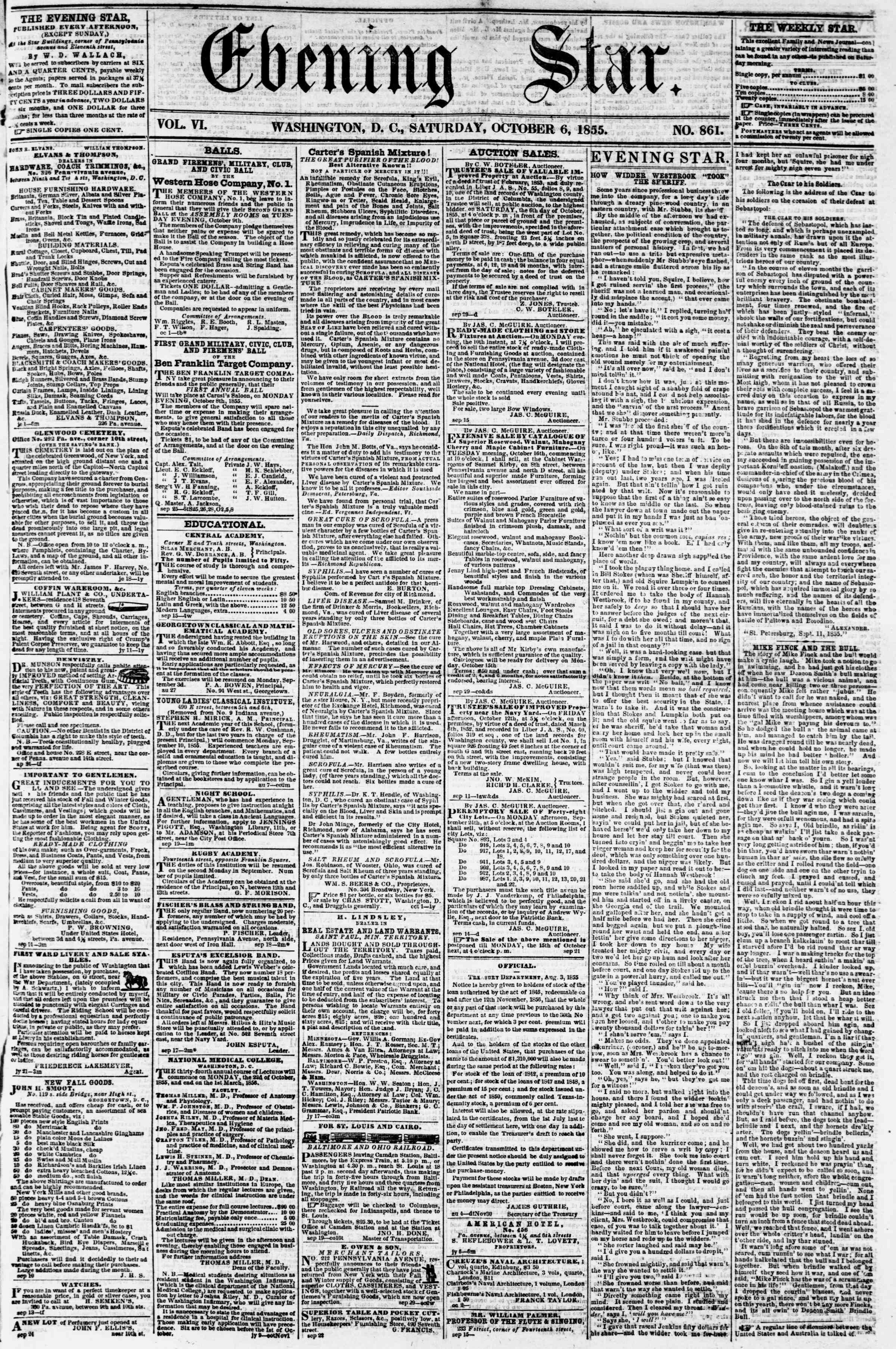 Newspaper of Evening Star dated October 6, 1855 Page 1