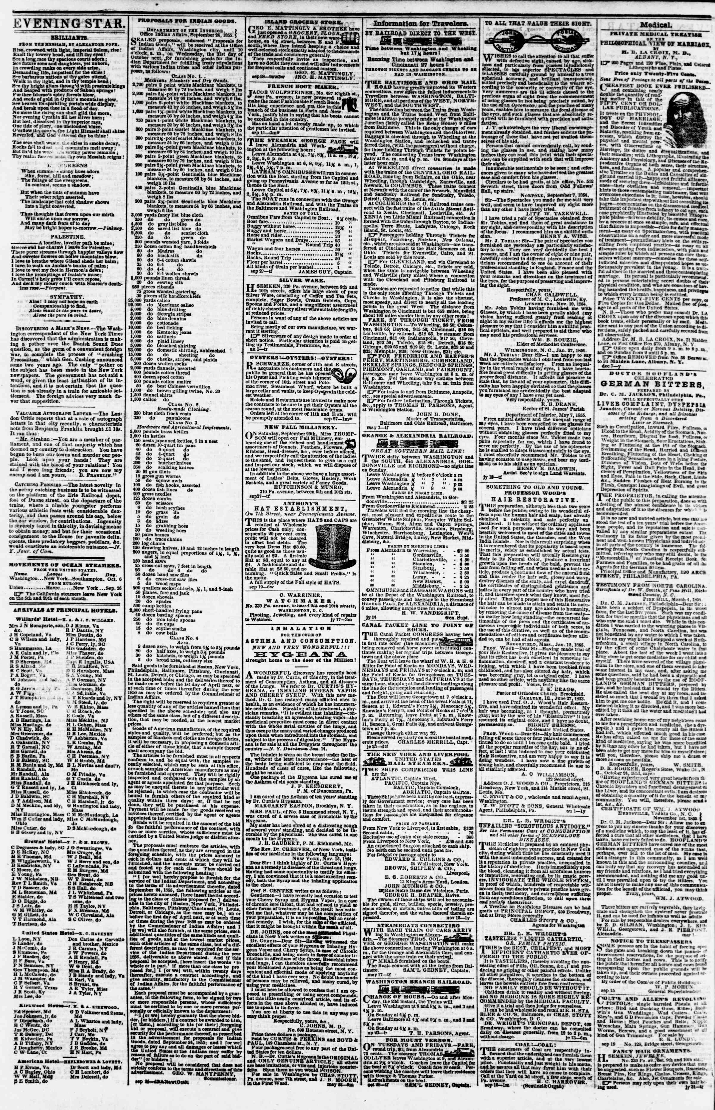 Newspaper of Evening Star dated October 6, 1855 Page 4