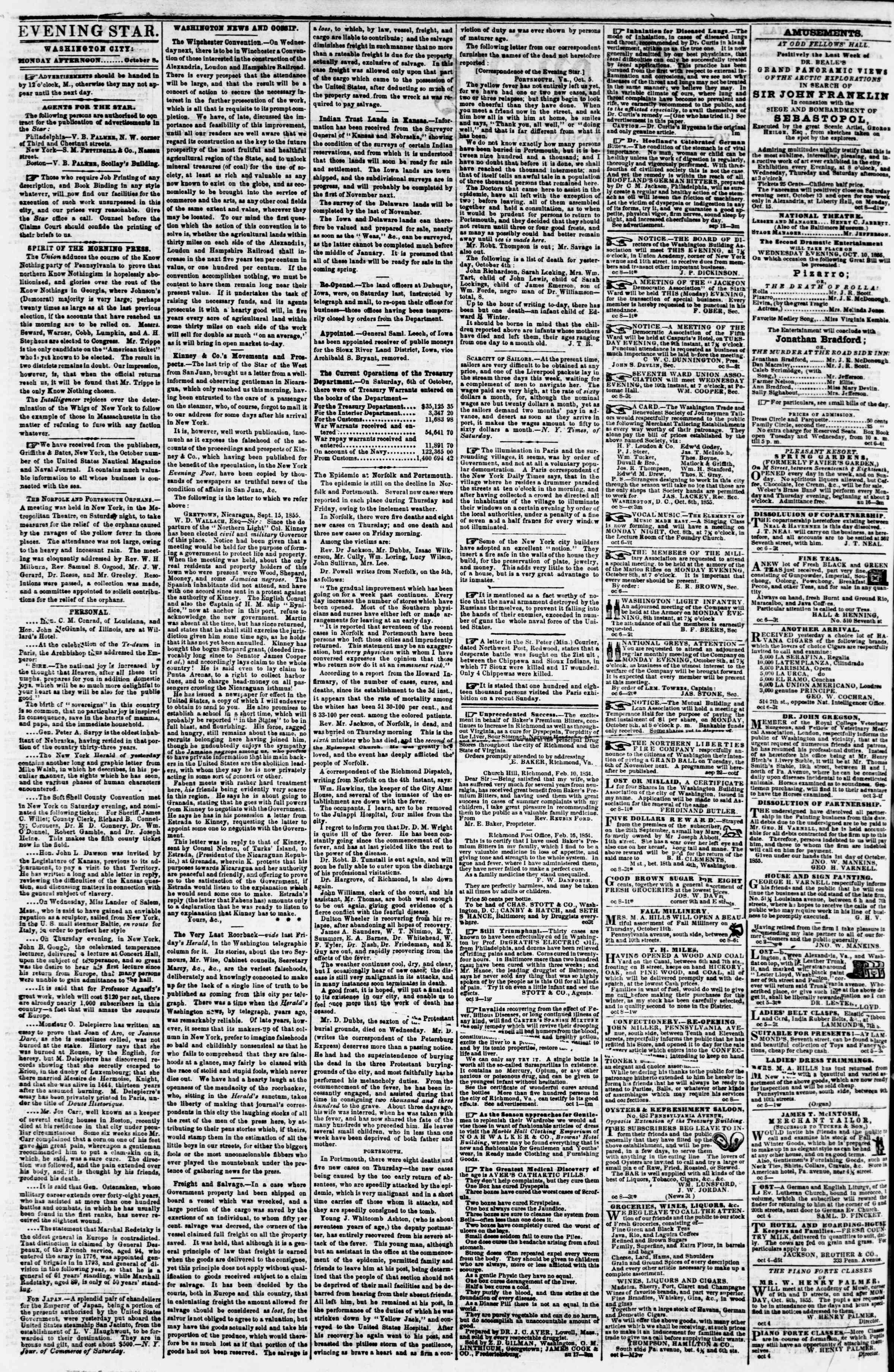 Newspaper of Evening Star dated October 8, 1855 Page 2