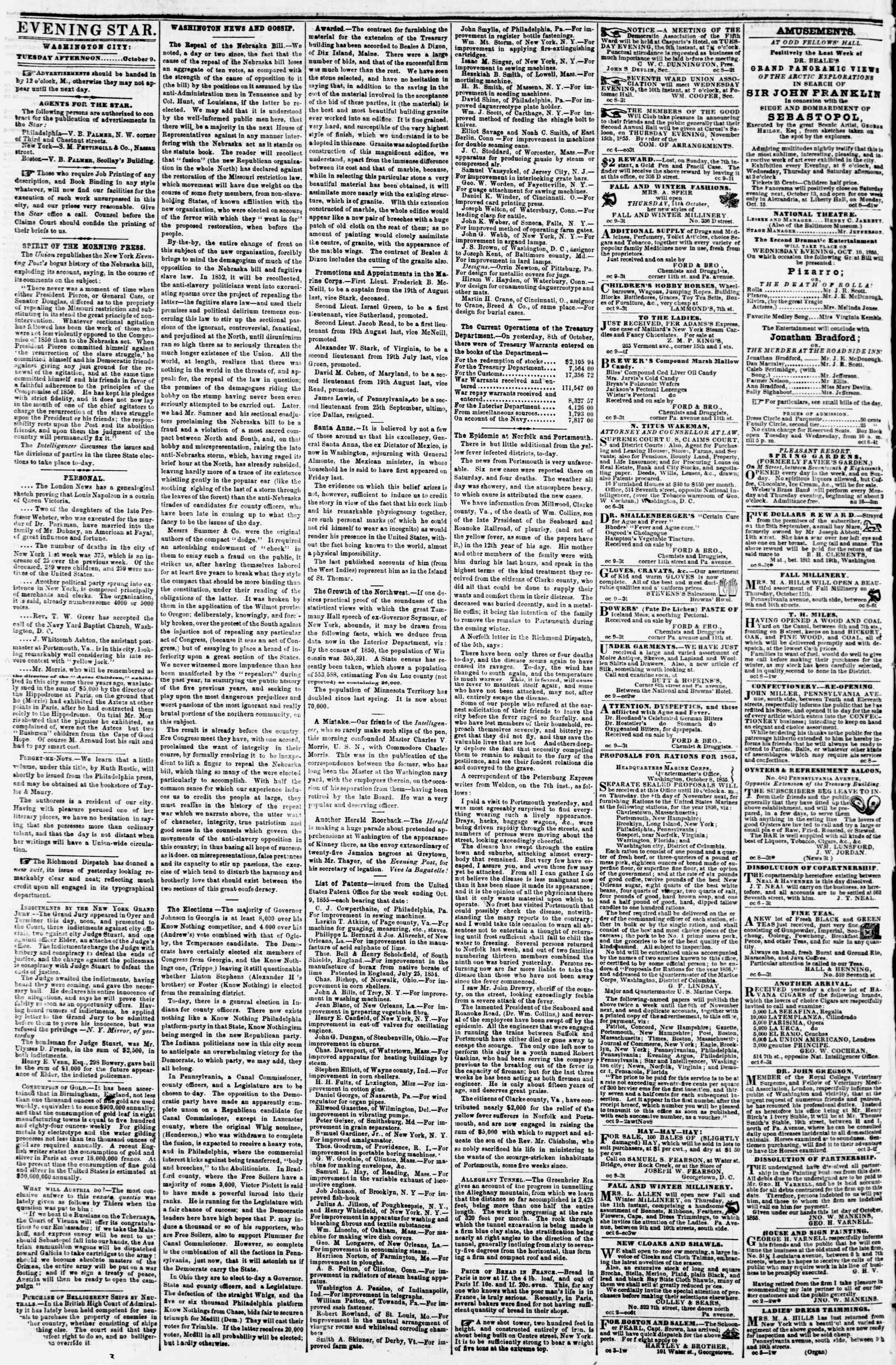 Newspaper of Evening Star dated October 9, 1855 Page 2