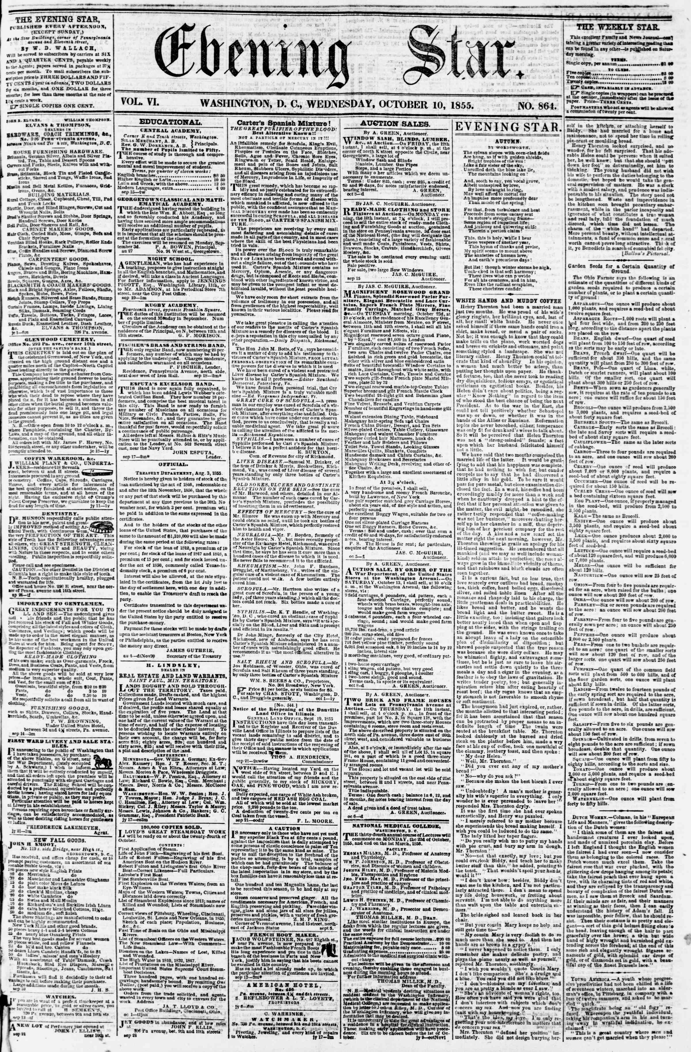 Newspaper of Evening Star dated October 10, 1855 Page 1