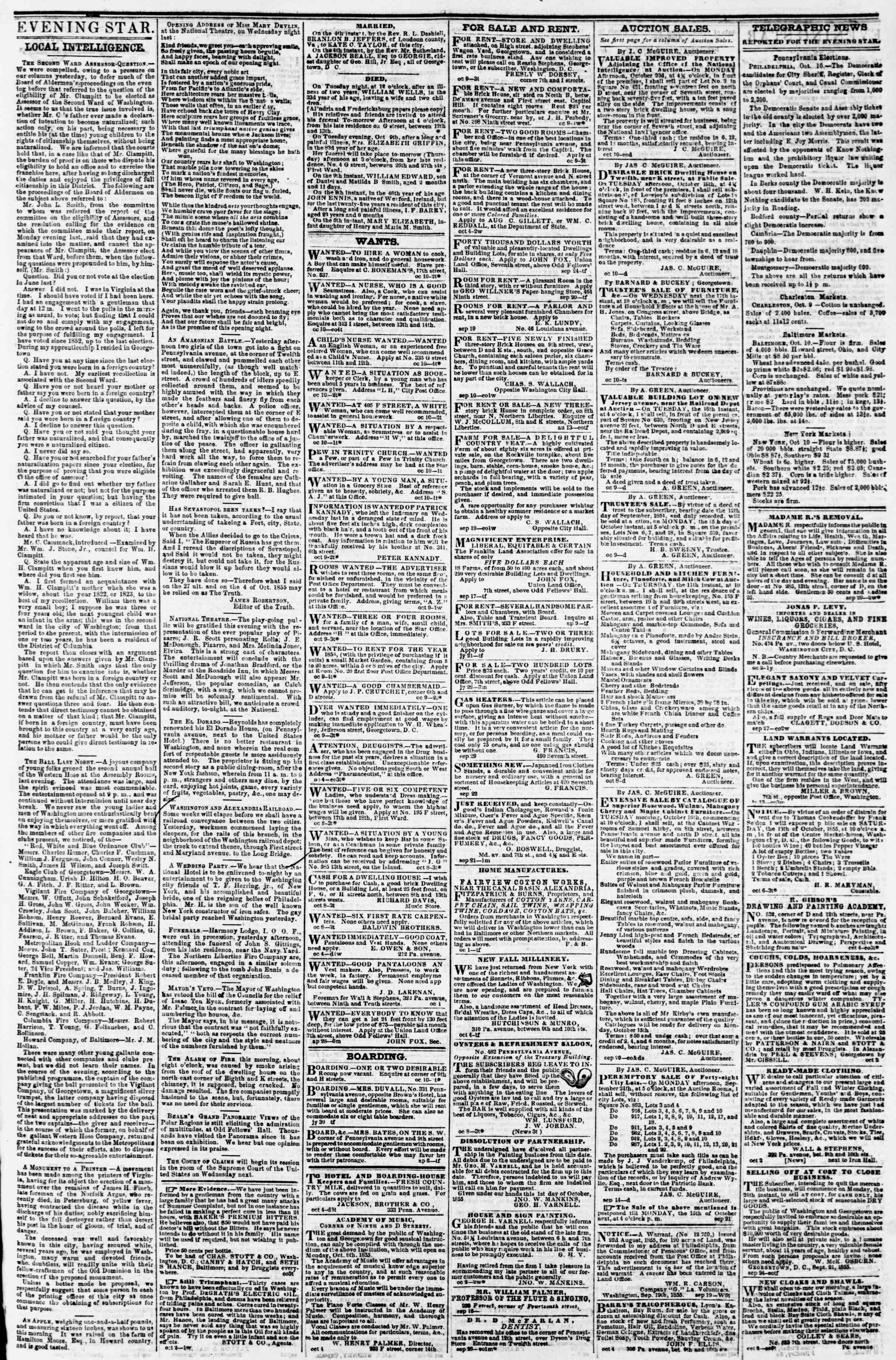Newspaper of Evening Star dated October 10, 1855 Page 3