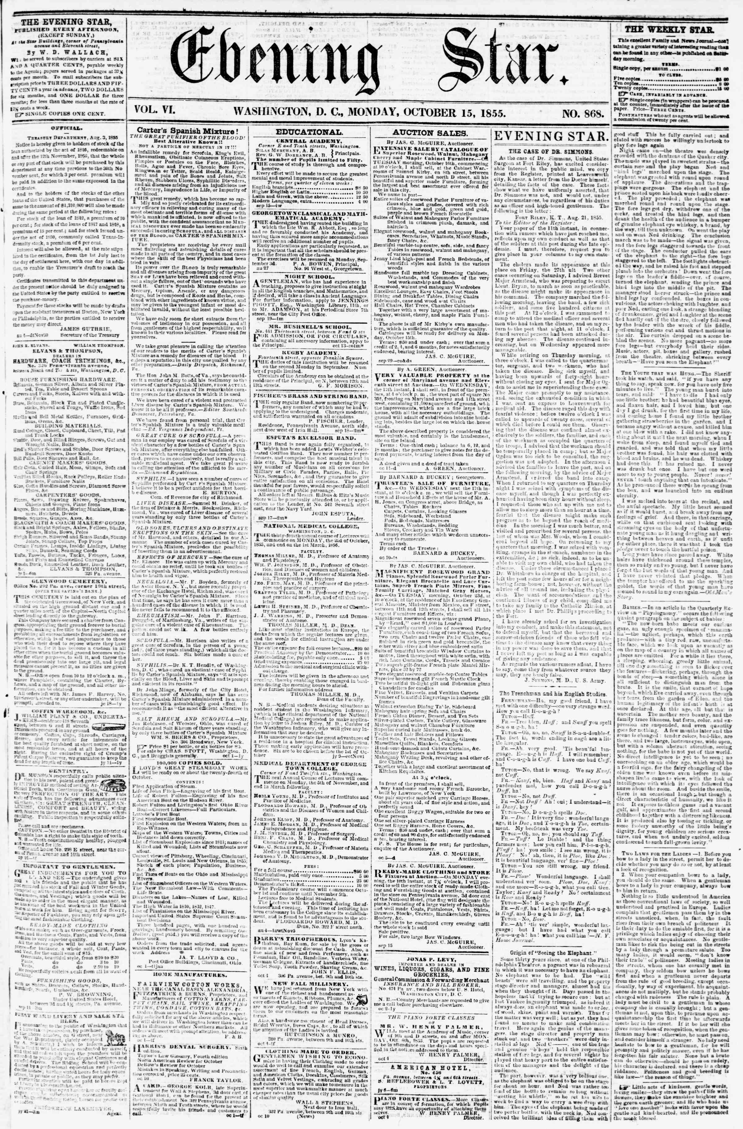 Newspaper of Evening Star dated October 15, 1855 Page 1