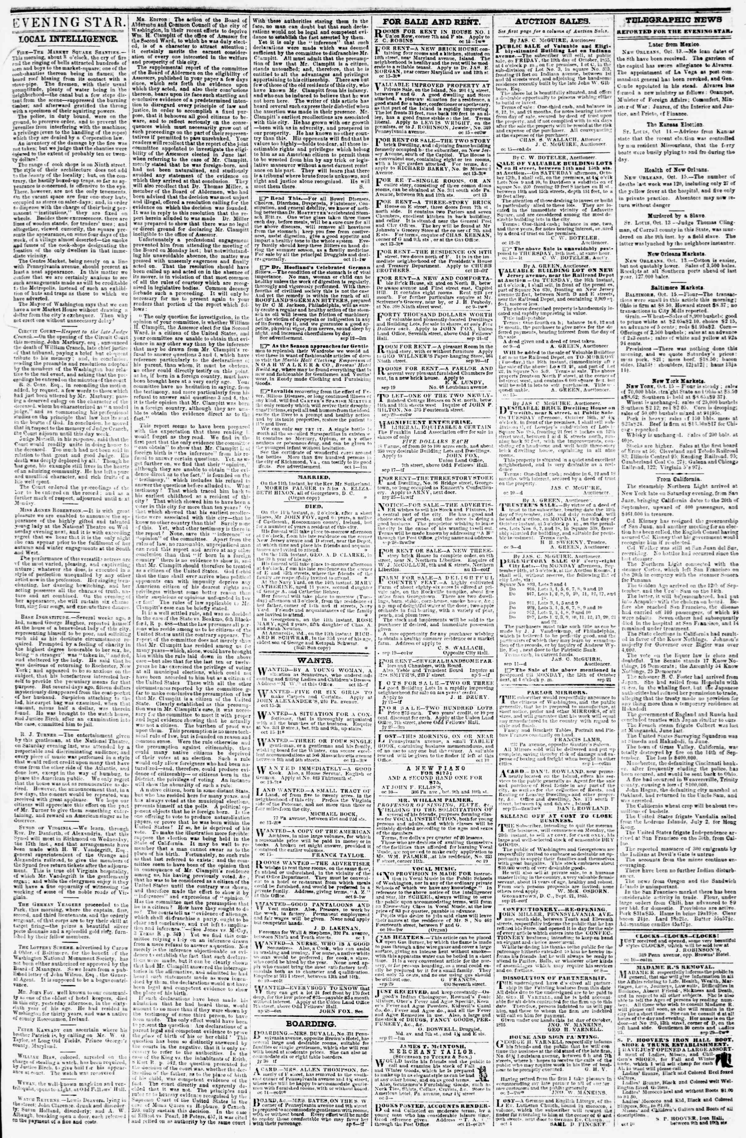 Newspaper of Evening Star dated October 15, 1855 Page 3