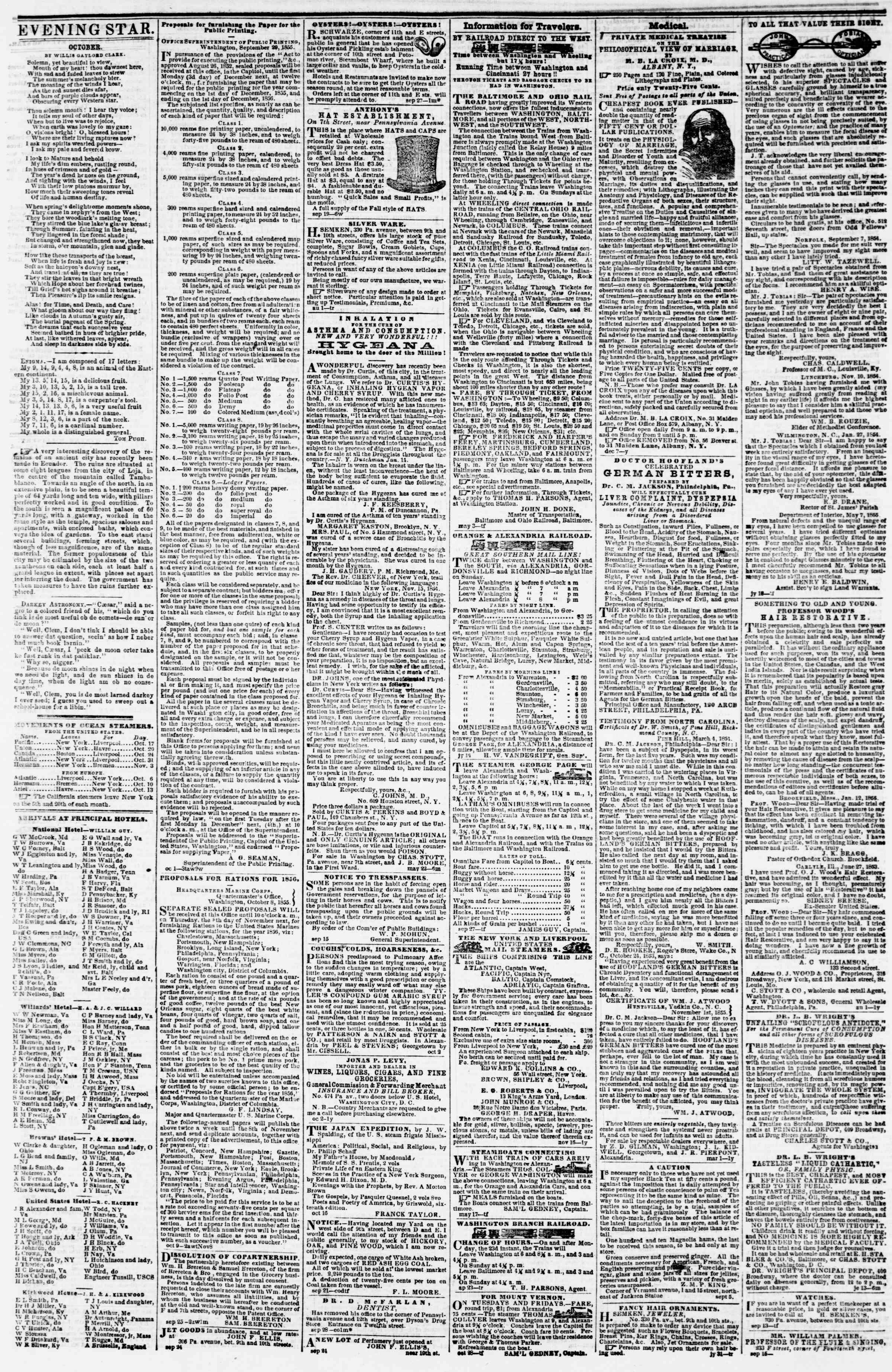 Newspaper of Evening Star dated October 19, 1855 Page 4
