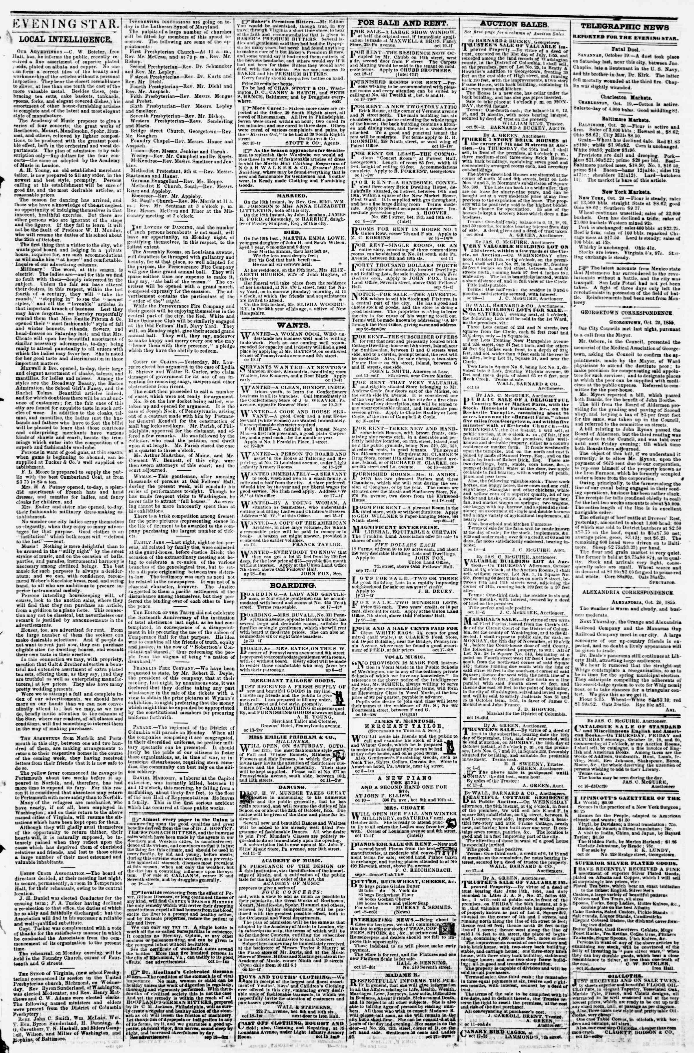 Newspaper of Evening Star dated October 20, 1855 Page 3