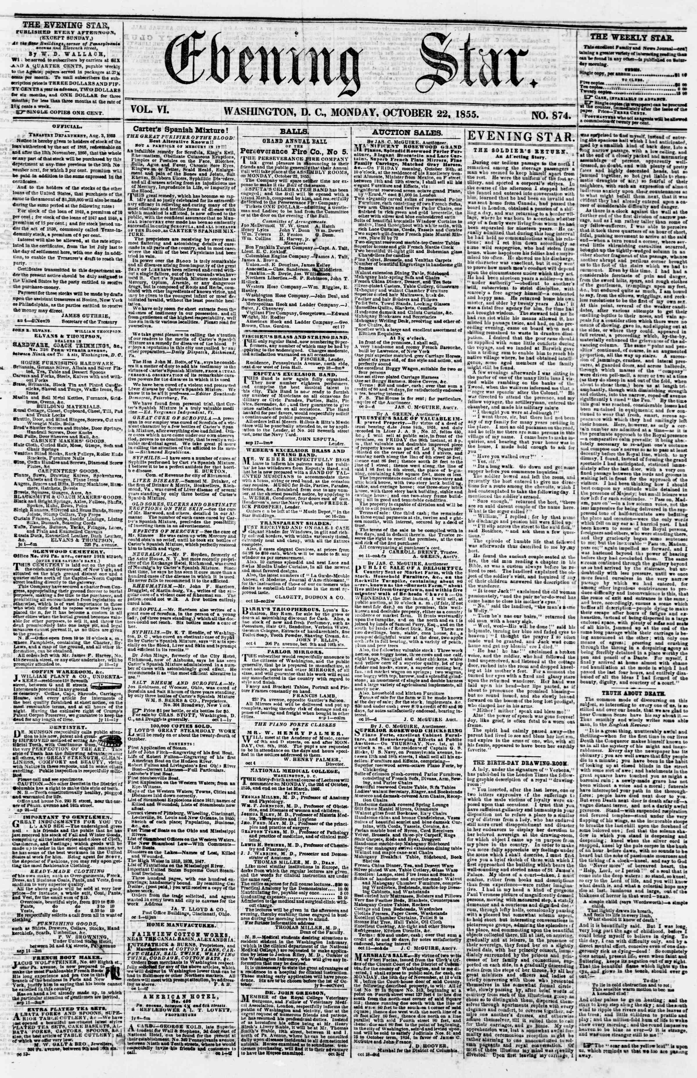 Newspaper of Evening Star dated October 22, 1855 Page 1