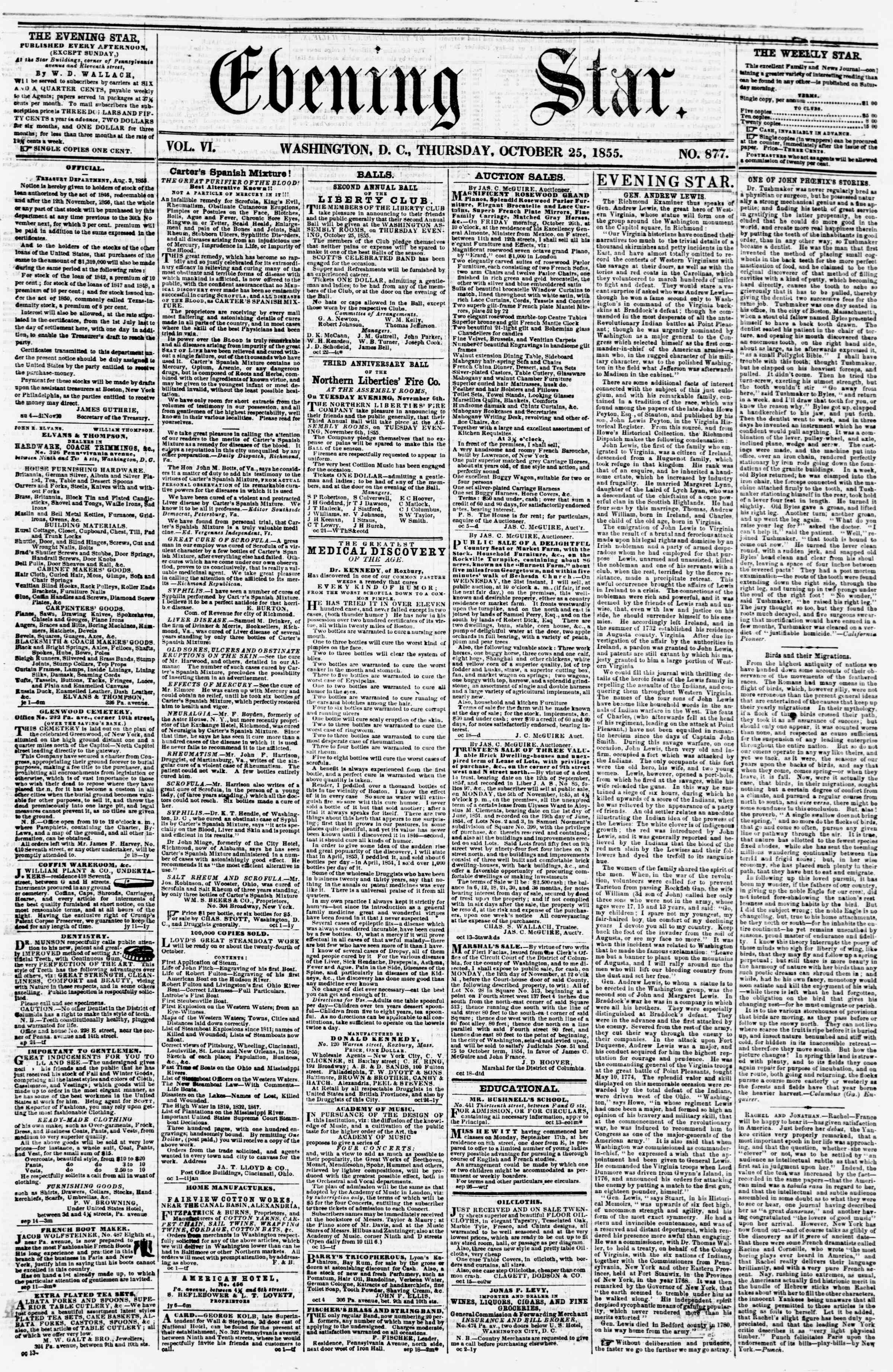 Newspaper of Evening Star dated October 25, 1855 Page 1