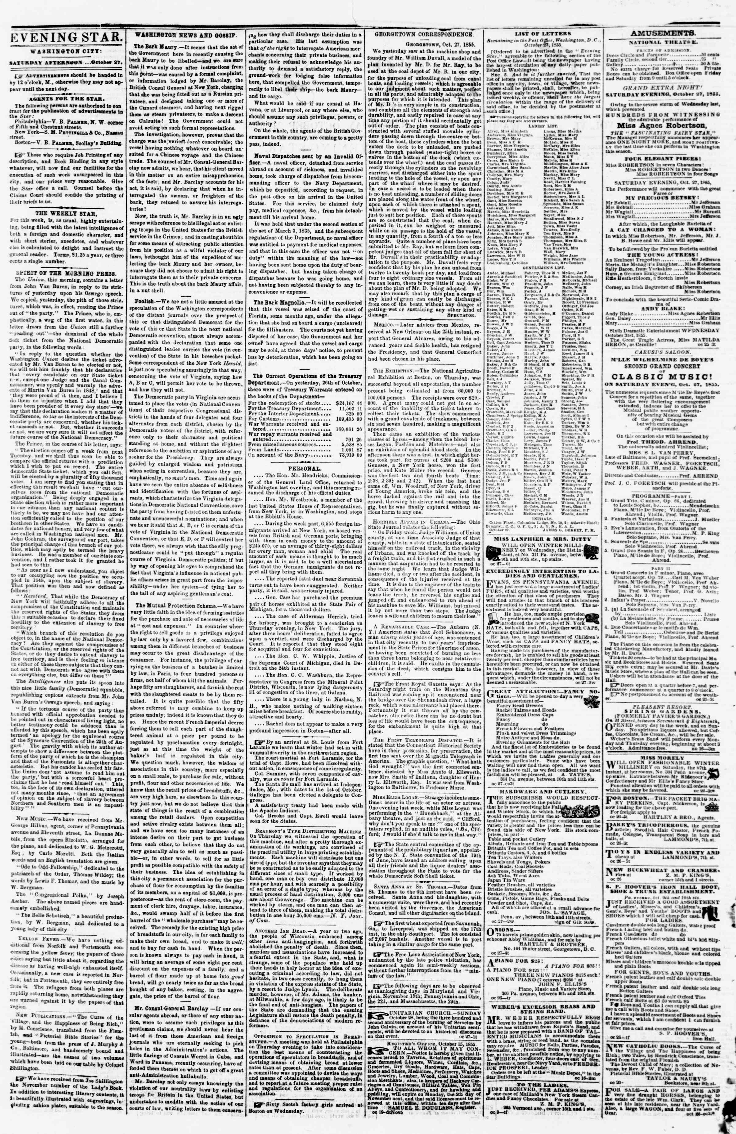 Newspaper of Evening Star dated October 27, 1855 Page 2